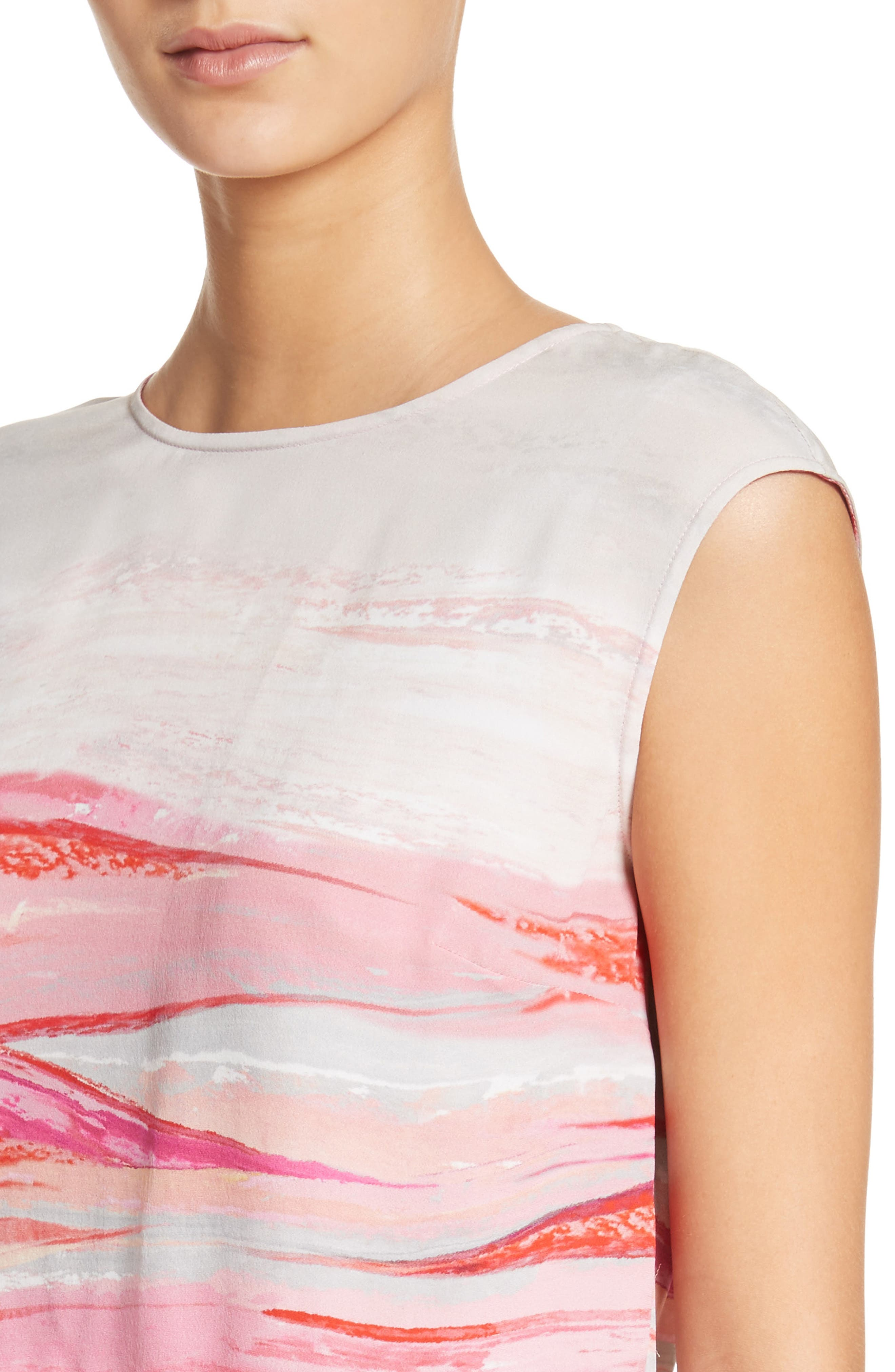 Textured Brushstroke Print Silk Satin Dress,                             Alternate thumbnail 4, color,                             Bright Coral Multi
