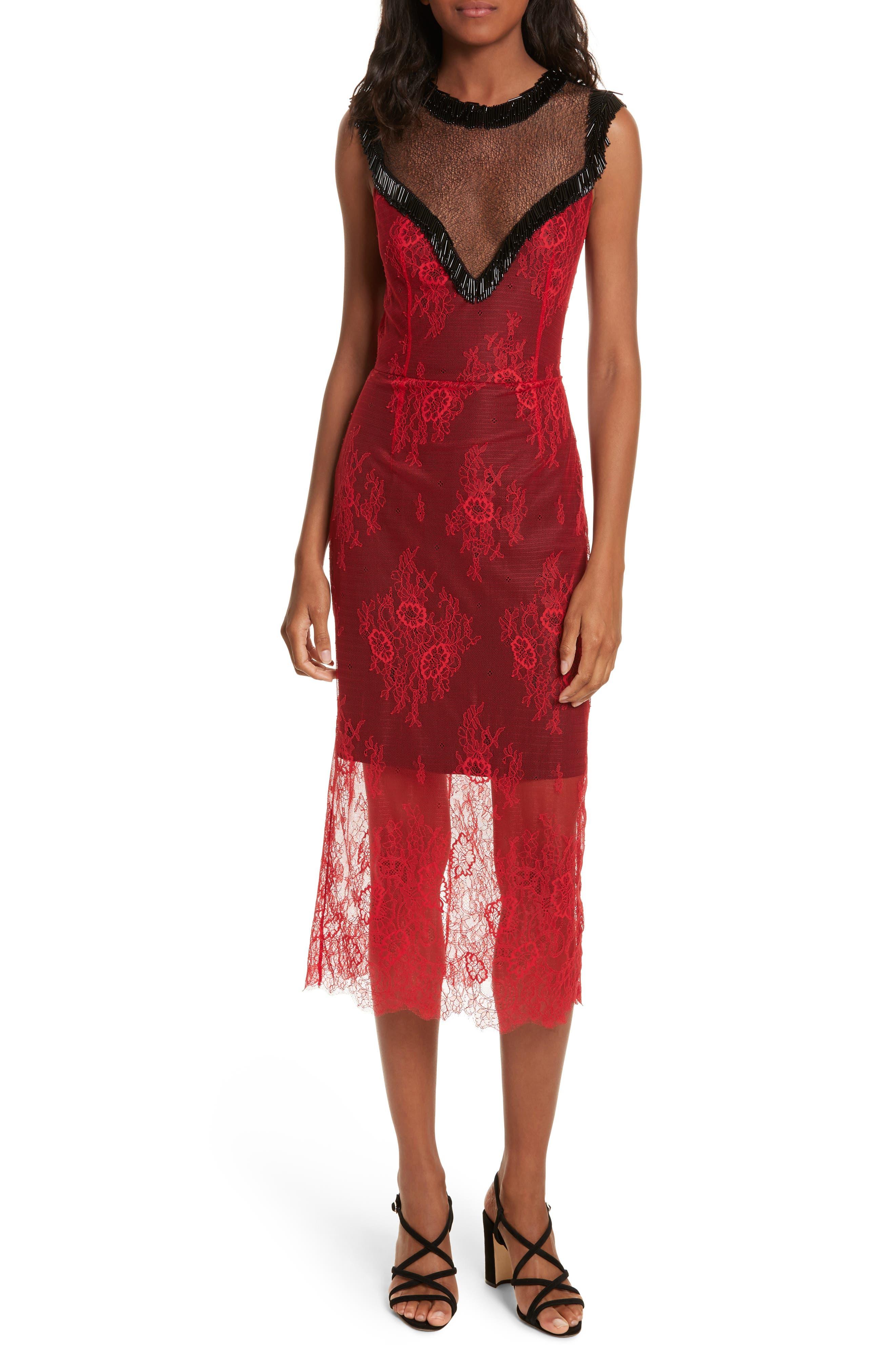Diane von Furstenberg Beaded Lace Overlay Dress,                             Main thumbnail 1, color,                             Lipstick/ Black