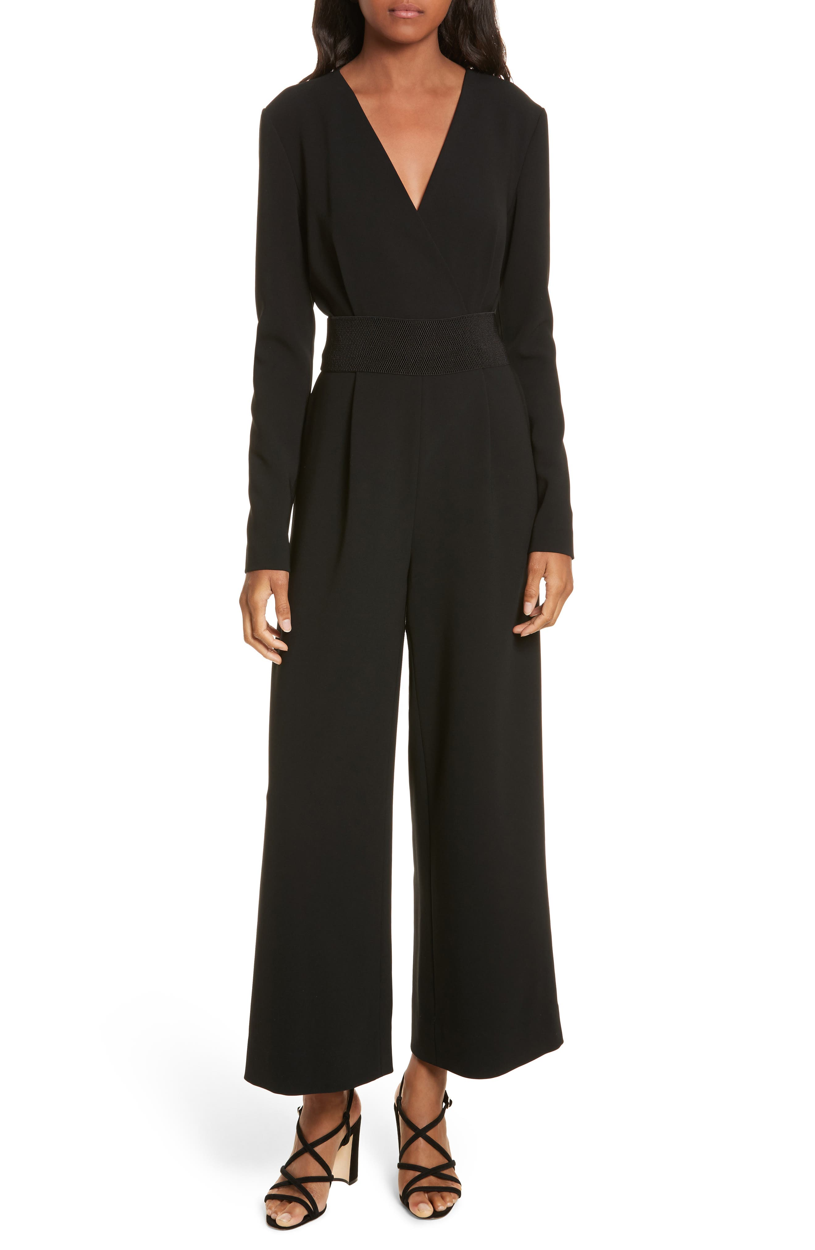 Surplice Jumpsuit,                             Main thumbnail 1, color,                             Black