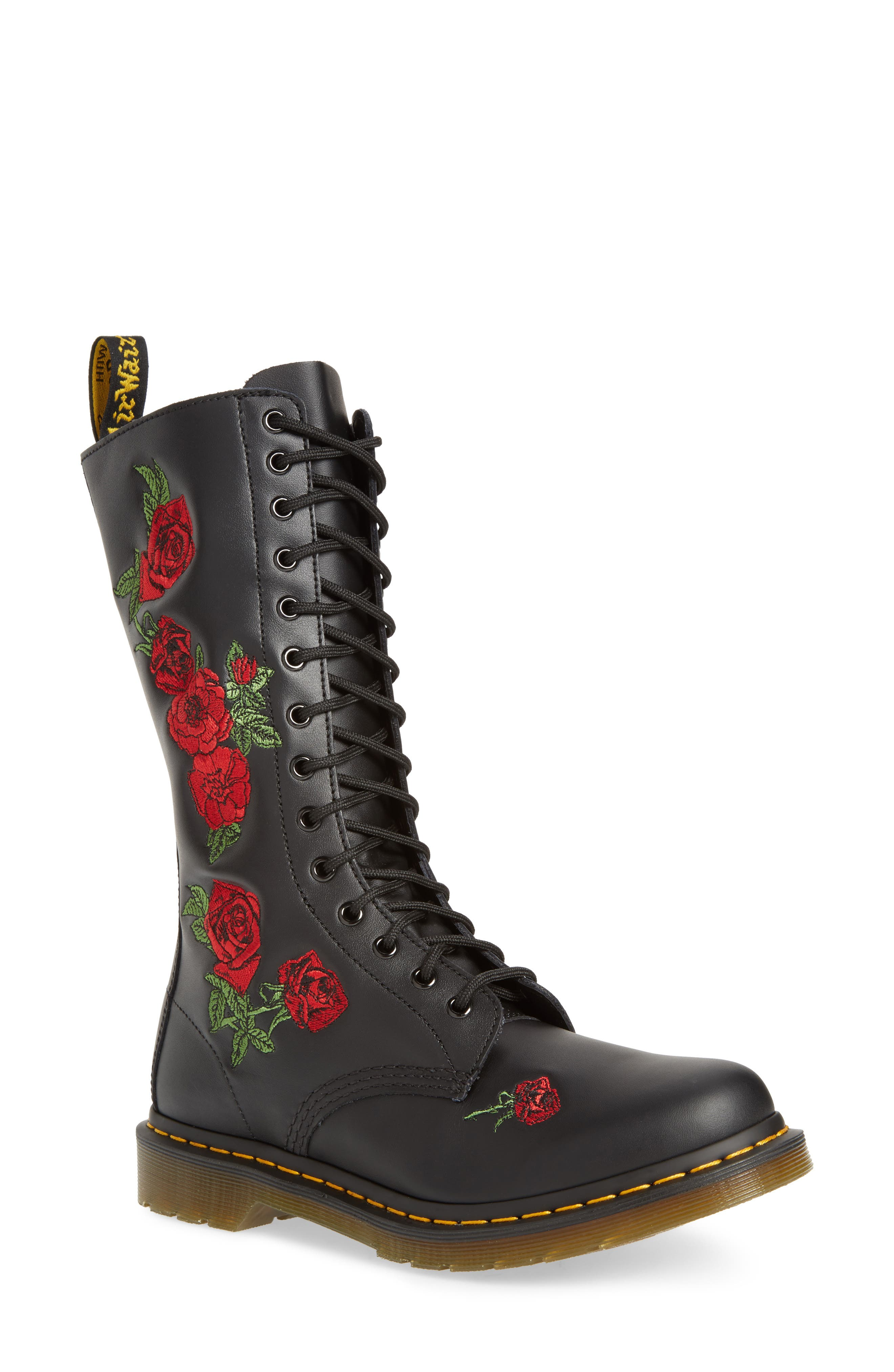 Vonda Lace-Up Boot,                         Main,                         color, Black Softy Embroidery