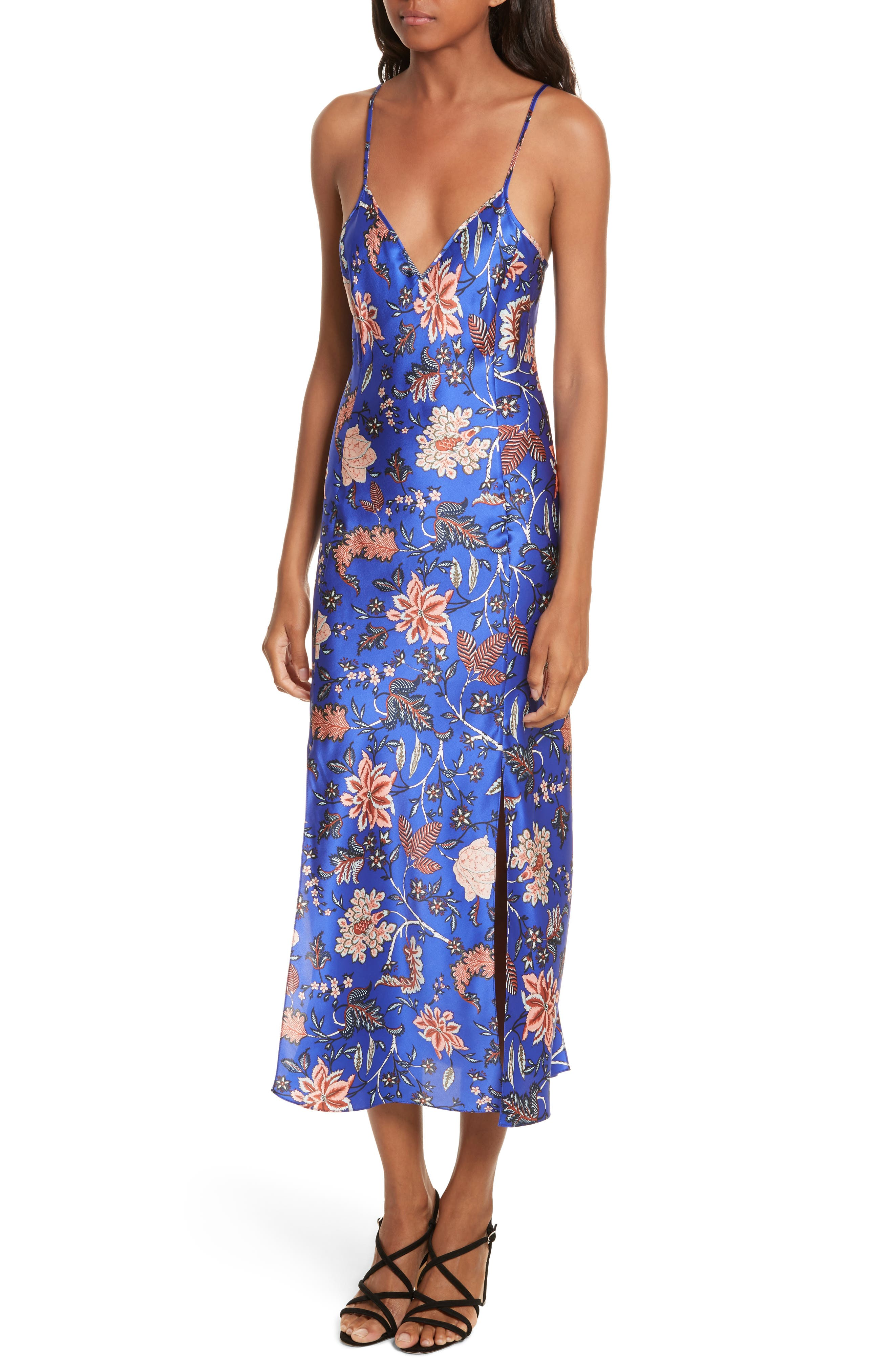 Diane von Furstenberg Mesh Overlay Floral Midi Dress,                             Alternate thumbnail 4, color,                             Canton Electric Blue