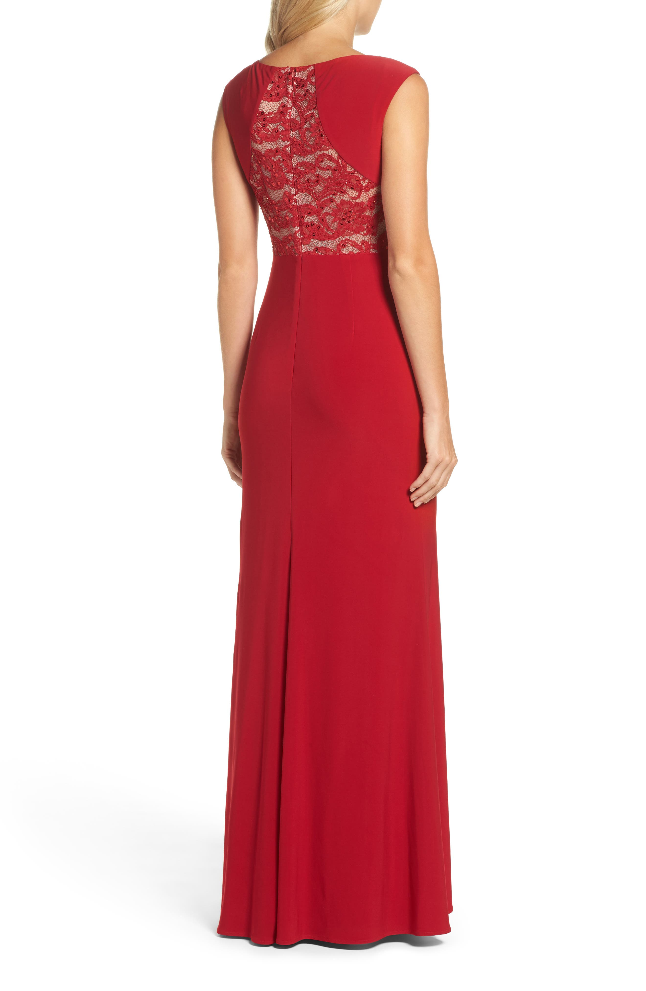 Alternate Image 2  - Adrianna Papell Lace Cutout Mermaid Gown