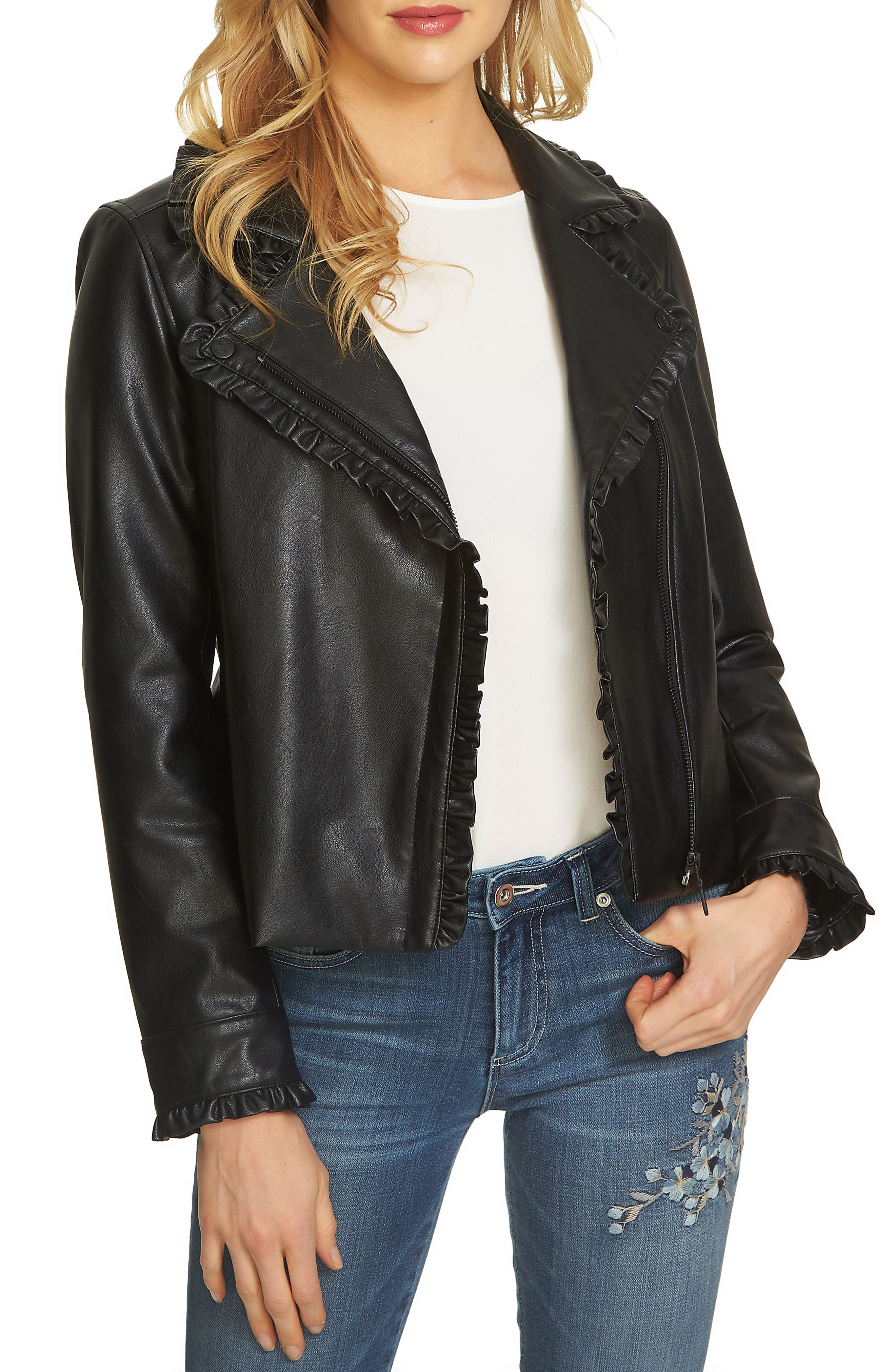 Ruffle Trim Moto Jacket,                         Main,                         color, Rich Black