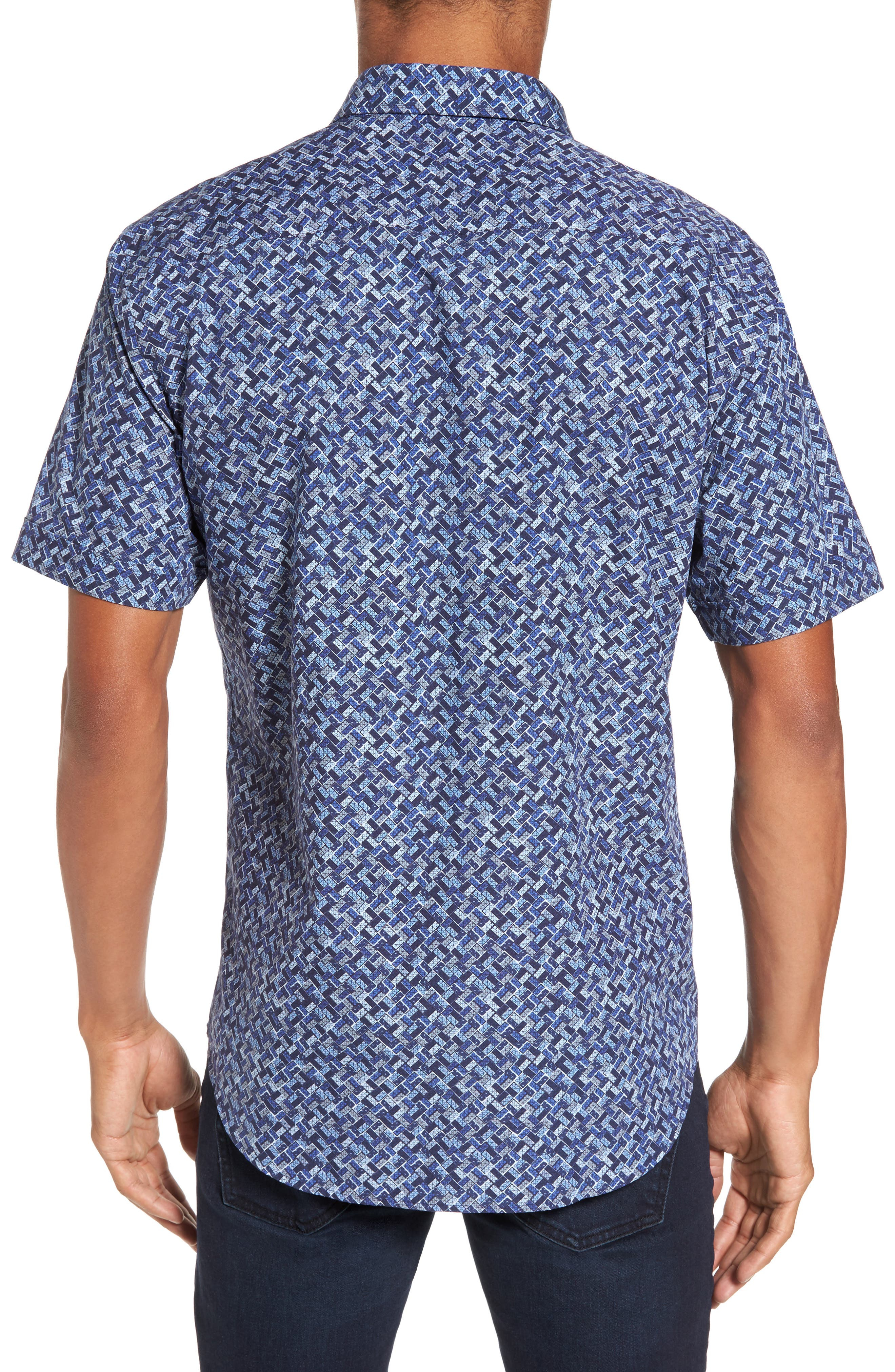 Shaped Fit Print Sport Shirt,                             Alternate thumbnail 2, color,                             Navy