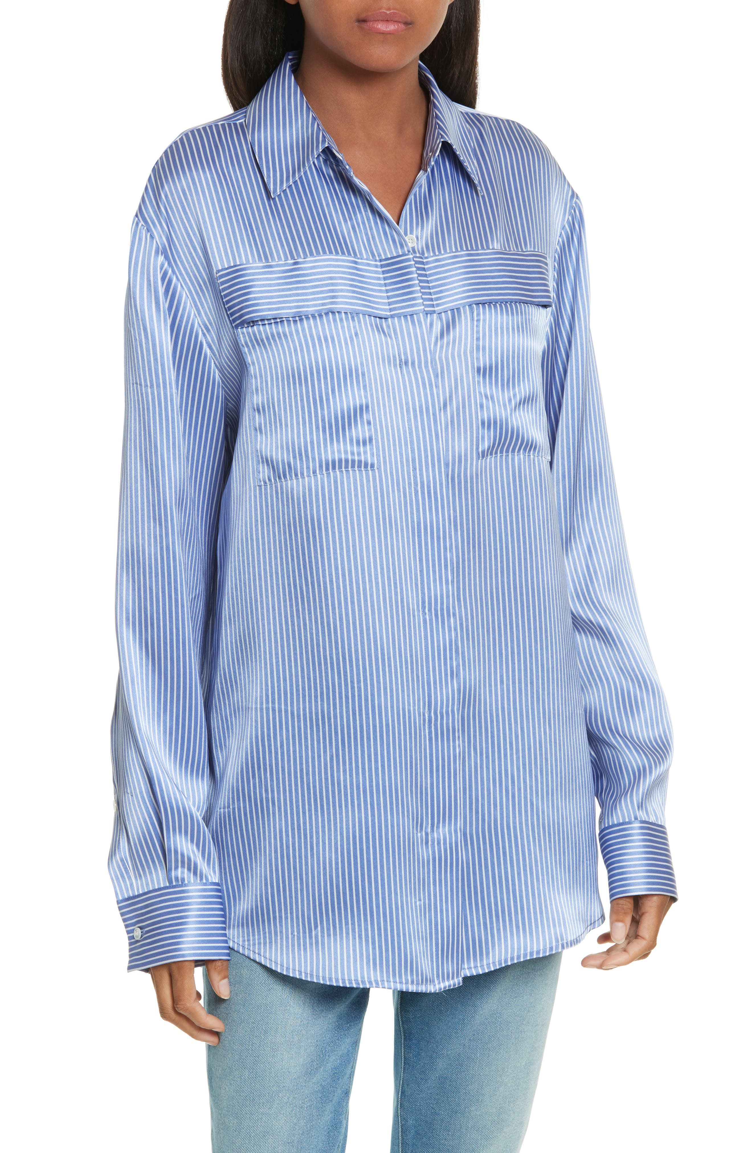 Silk Satin Blouse,                             Main thumbnail 1, color,                             Washed Whale With White Stripe