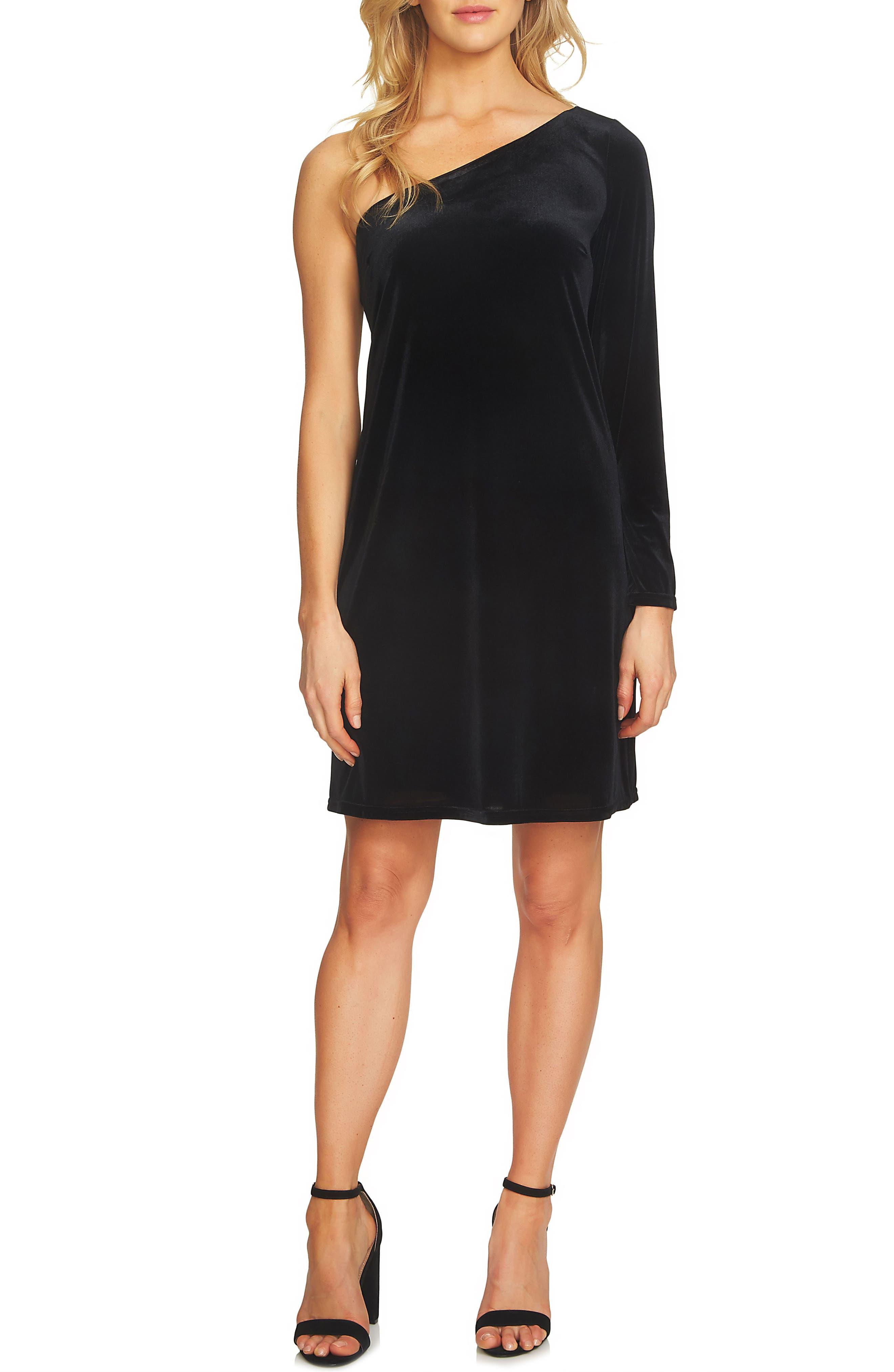 One-Shoulder Velvet Shift Dress,                         Main,                         color, Rich Black