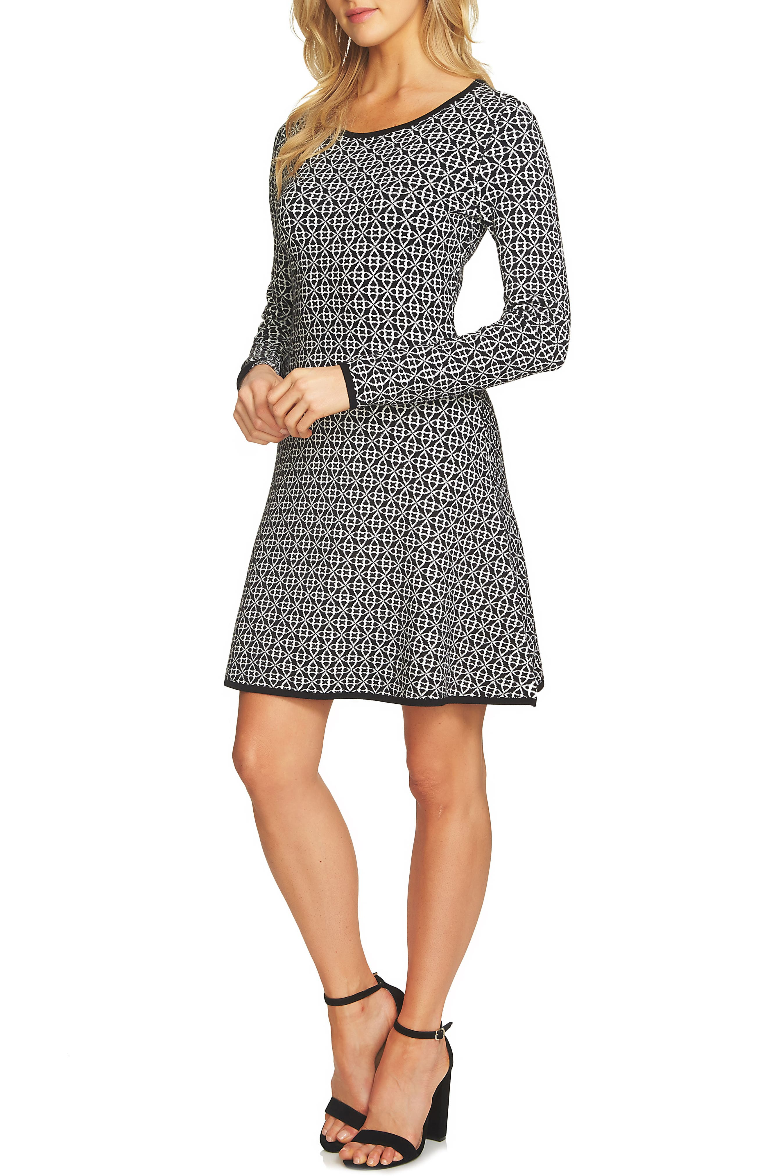 CeCe Fit & Flare Sweater Dress