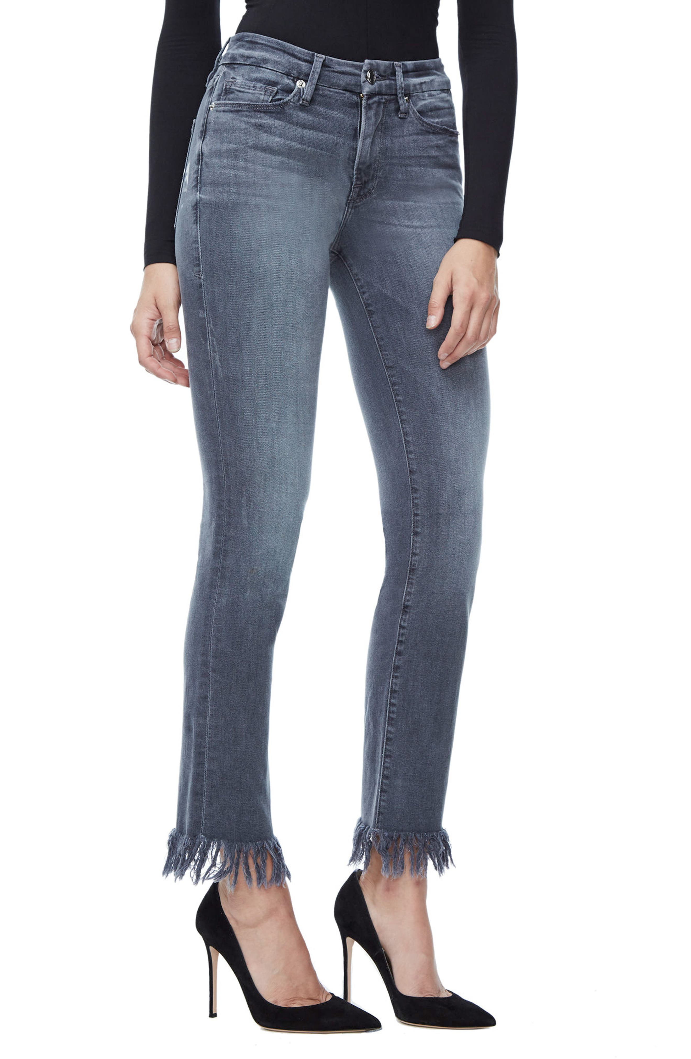 Alternate Image 5  - Good American Good Straight Crop Straight Leg Jeans (Grey 001) (Extended Sizes)