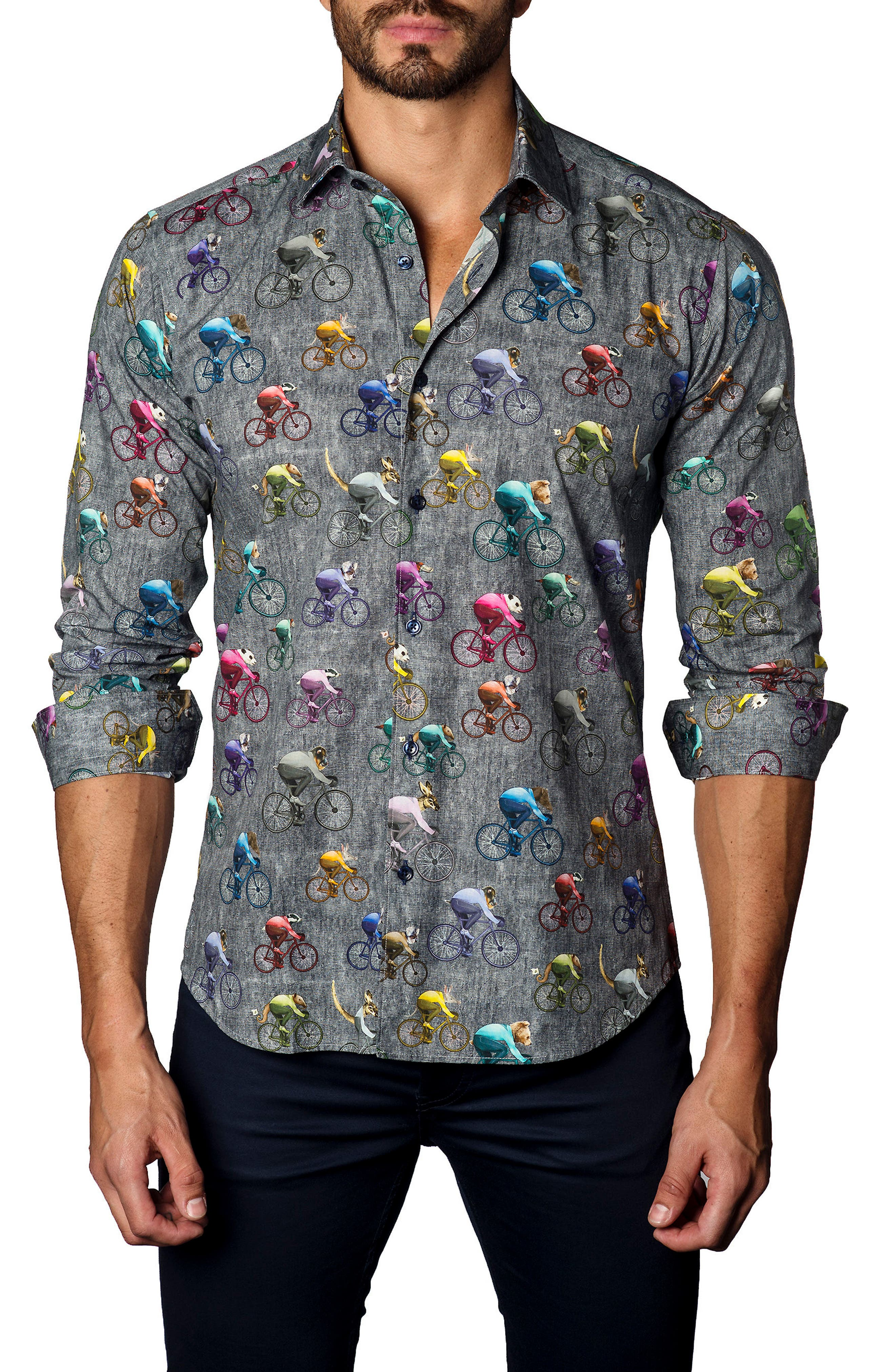 Alternate Image 1 Selected - Jared Lang Trim Fit Bicycling Animals Sport Shirt