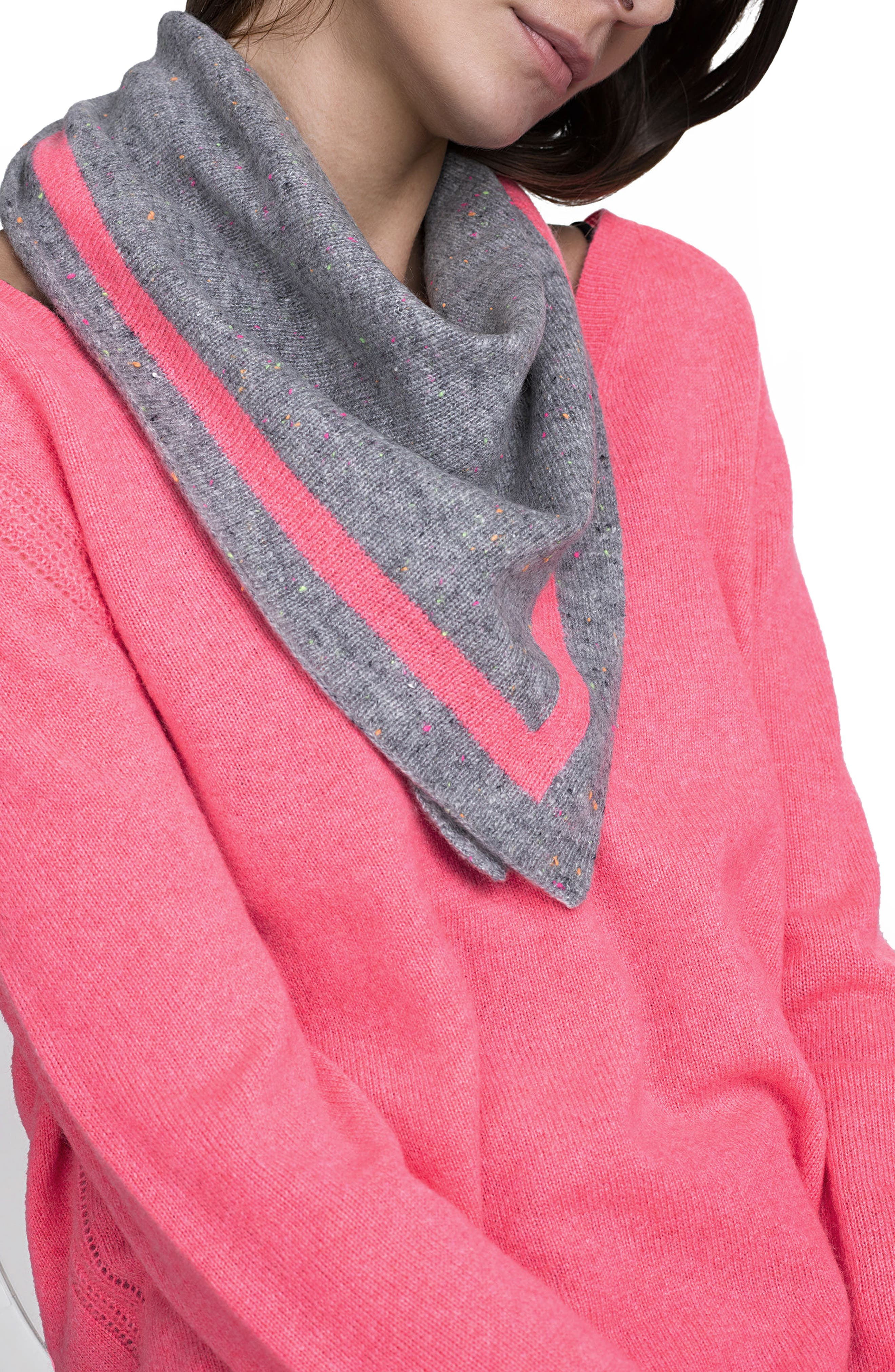 Tipped Cashmere Scarf,                         Main,                         color, Grey Nep/Poppy