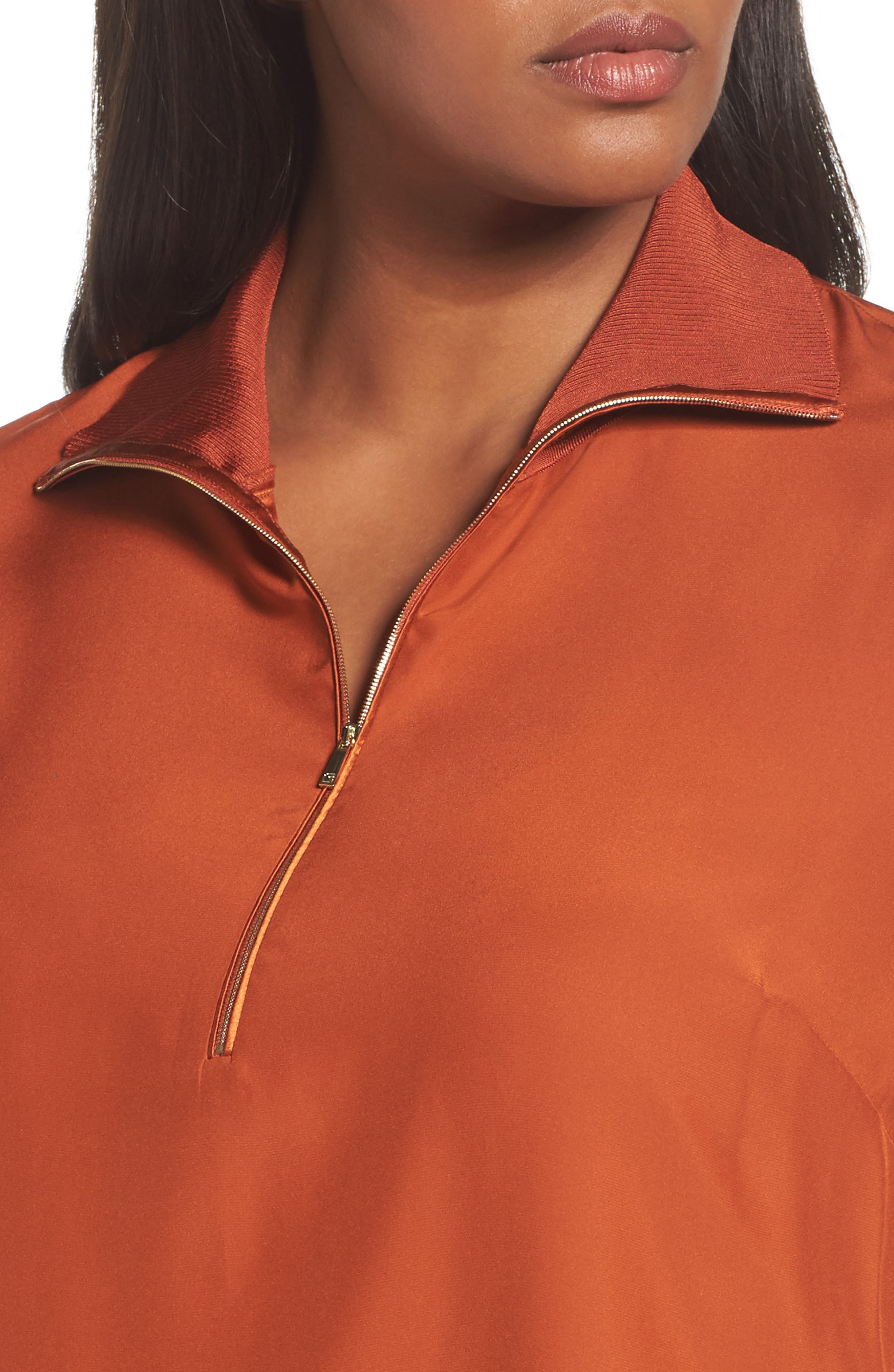 Lafayette Daryn V-Neck Zip Silk Blouse,                             Alternate thumbnail 4, color,                             Harvest