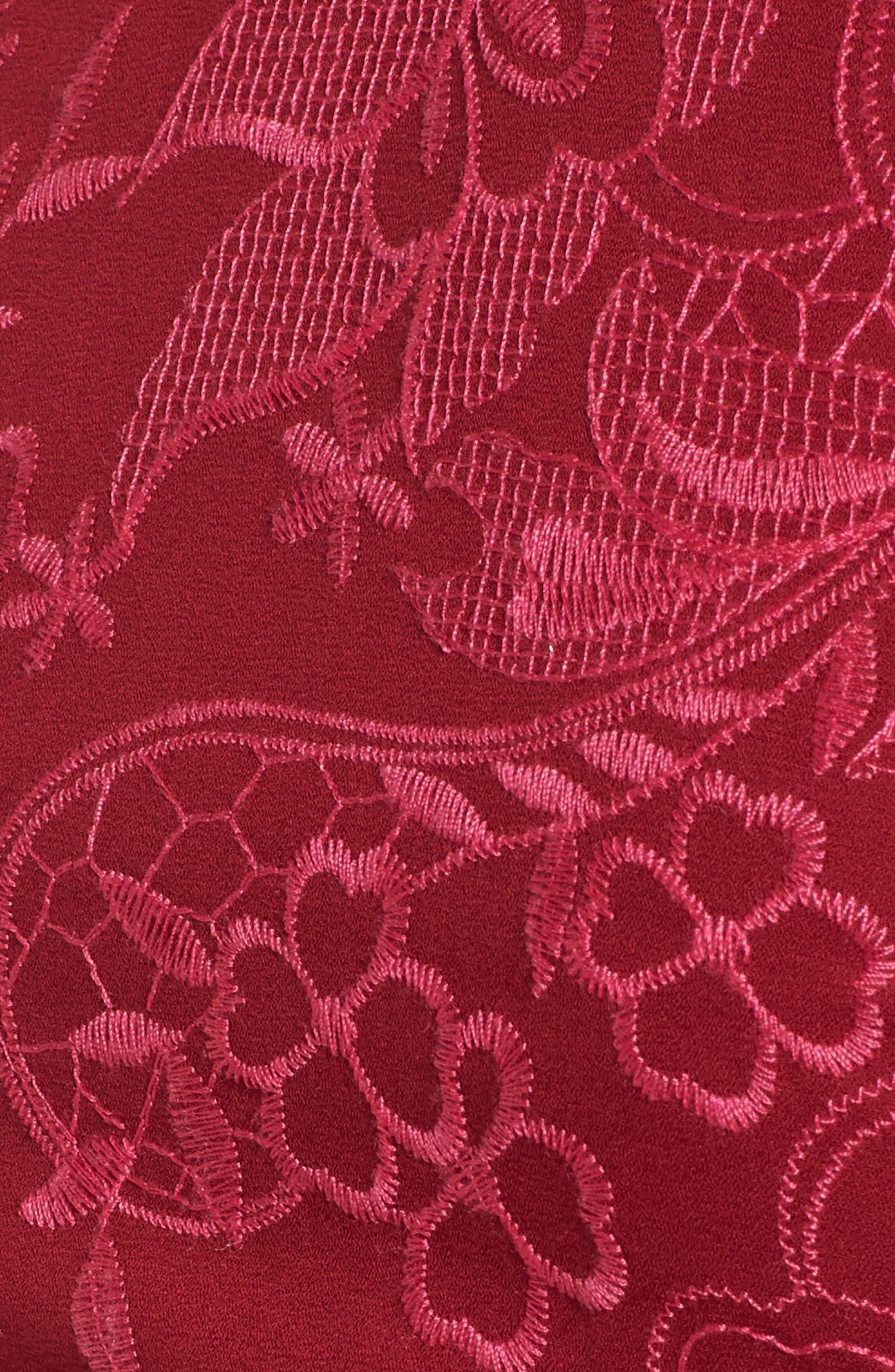 Serafina Bell Sleeve Dress,                             Alternate thumbnail 5, color,                             Shiraz