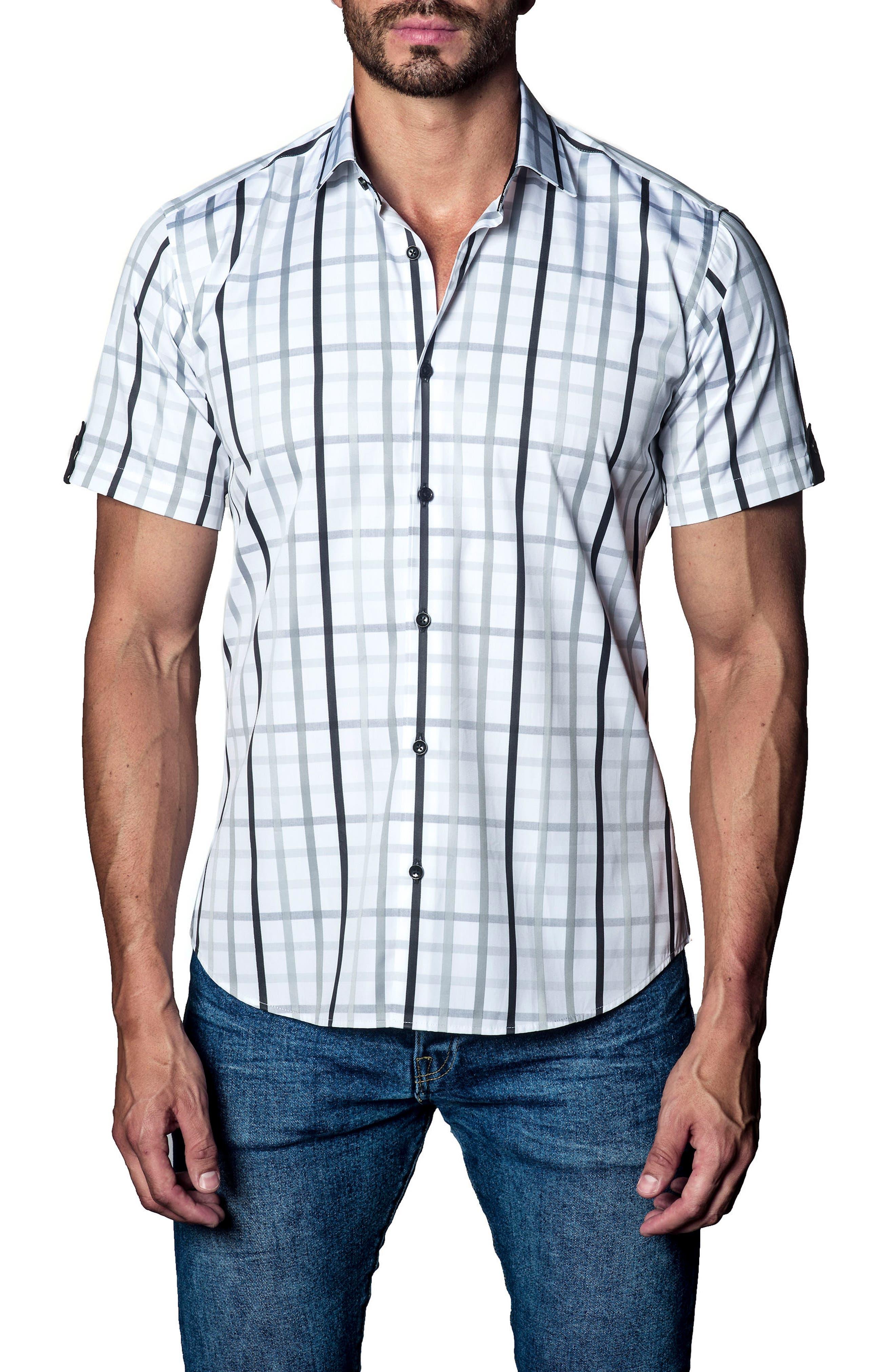 Plaid Sport Shirt,                         Main,                         color, White / Grey / Black Plaid