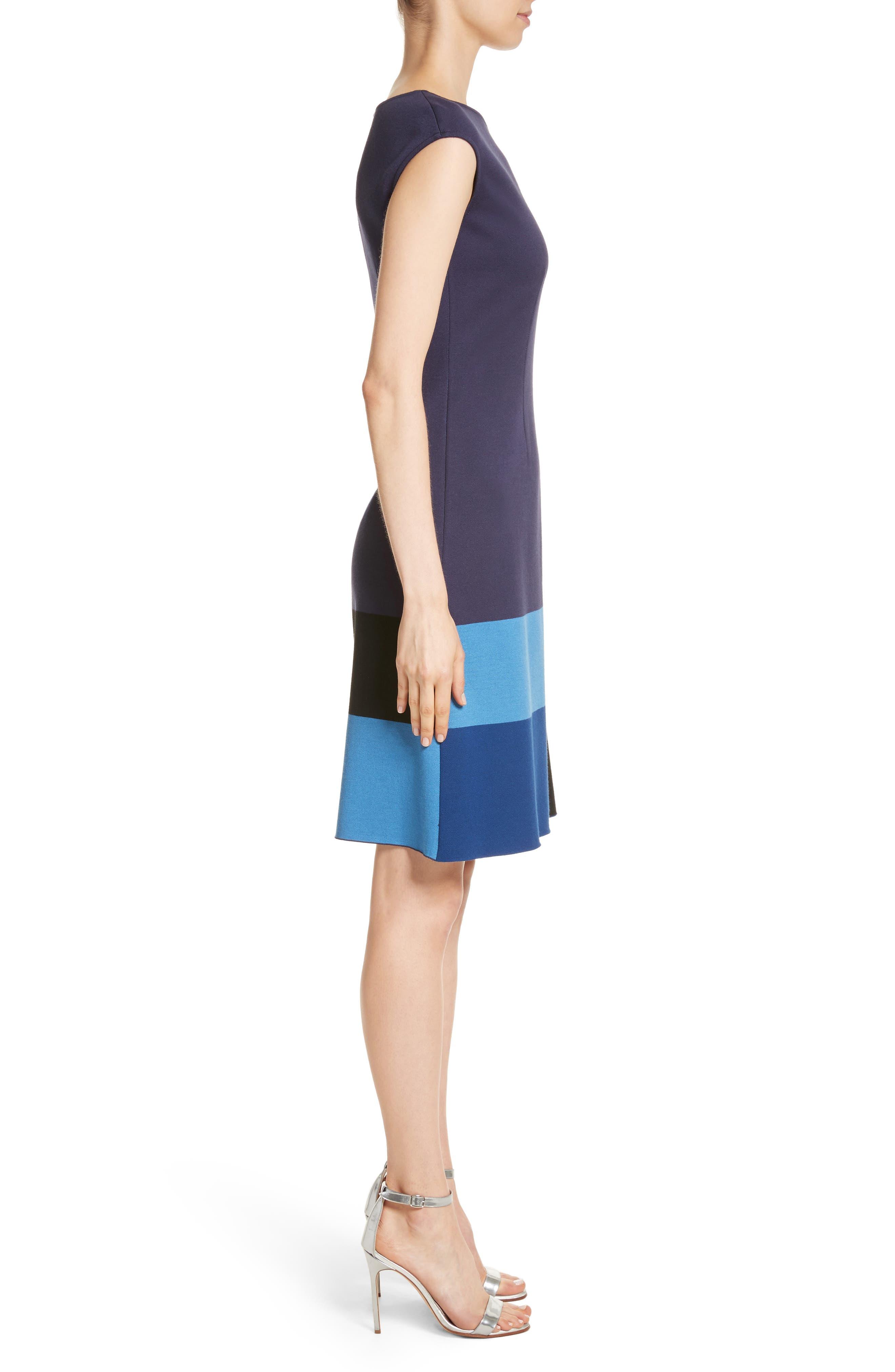 Colorblock Milano Knit Dress,                             Alternate thumbnail 3, color,                             Navy Multi