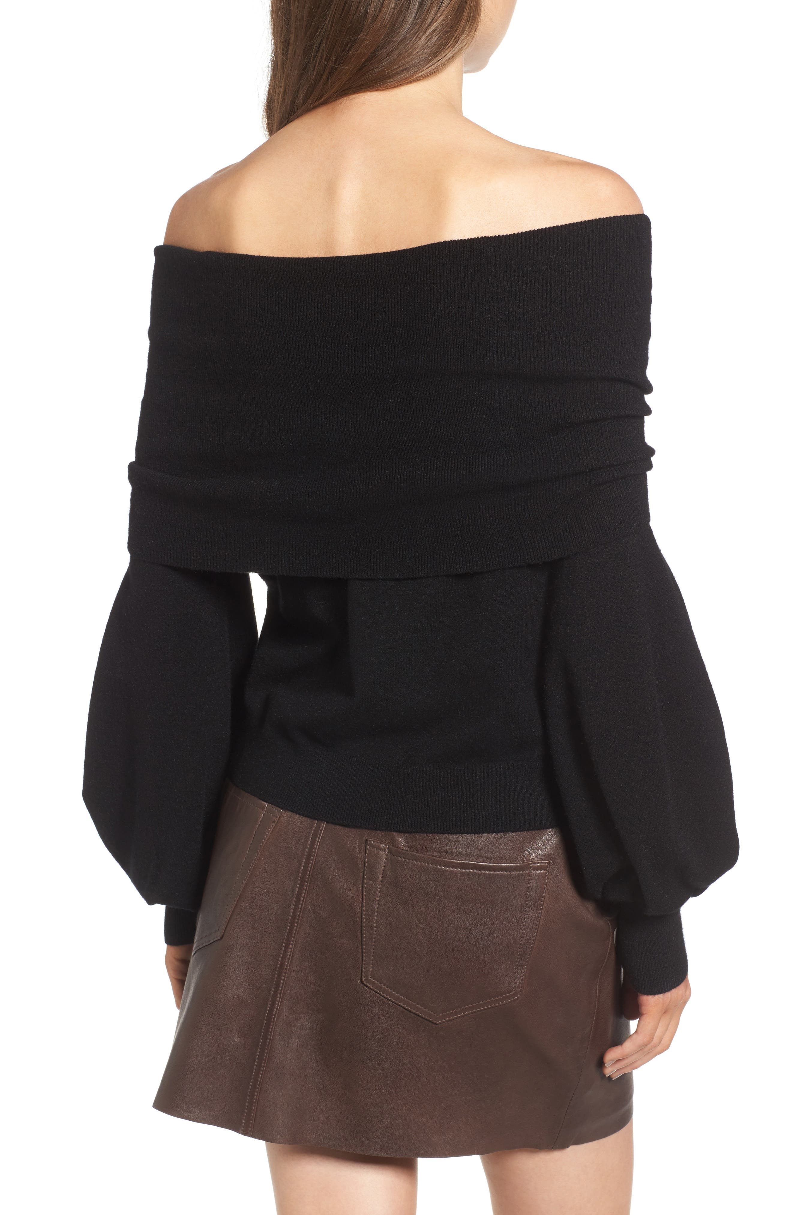 x Something Navy Off the Shoulder Sweater,                             Alternate thumbnail 2, color,                             Black
