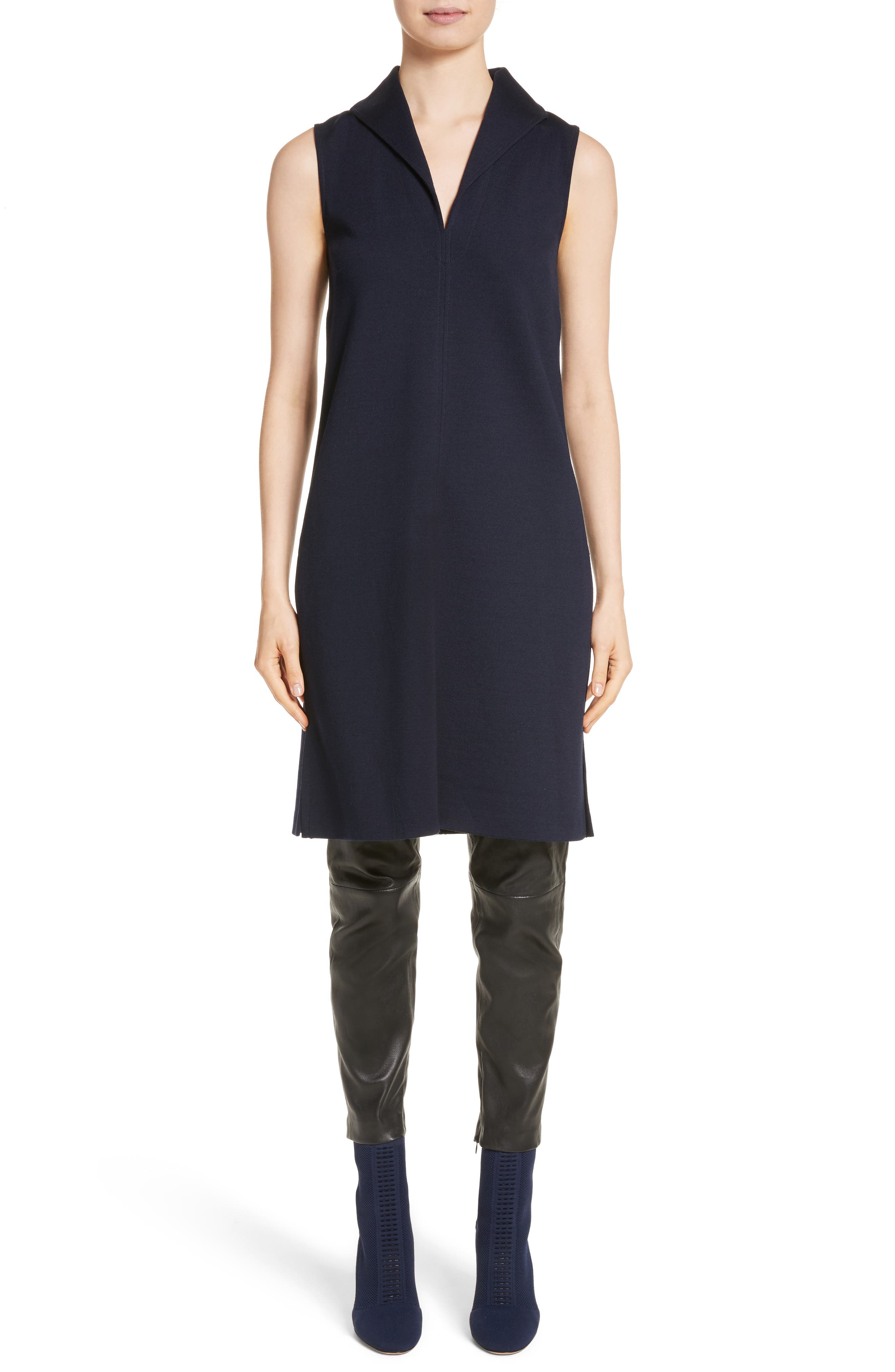 St John Collection Milano Knit Collared Tunic,                             Alternate thumbnail 7, color,                             Navy