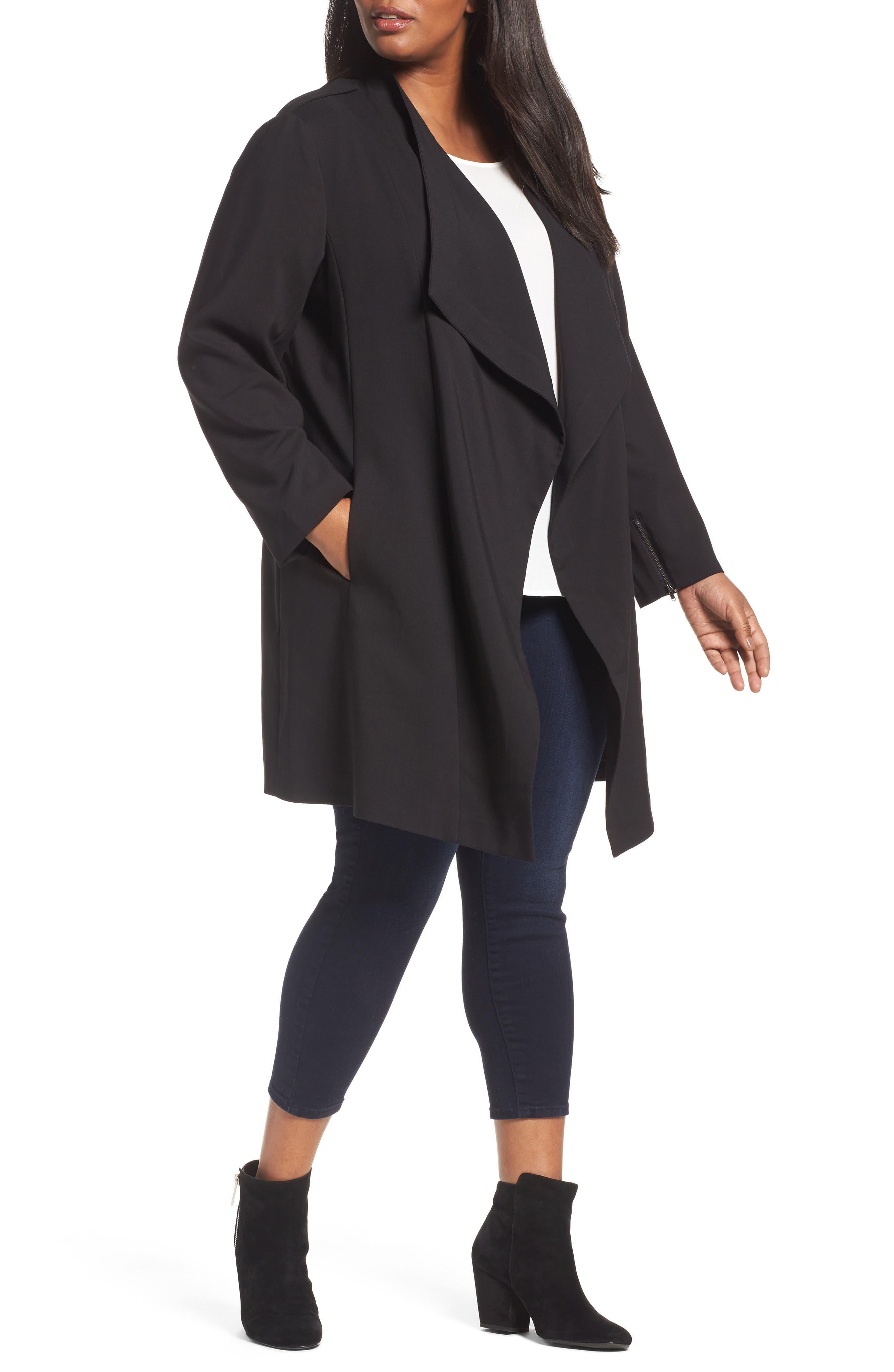 Halogen® Drape Front Jacket (Plus Size)