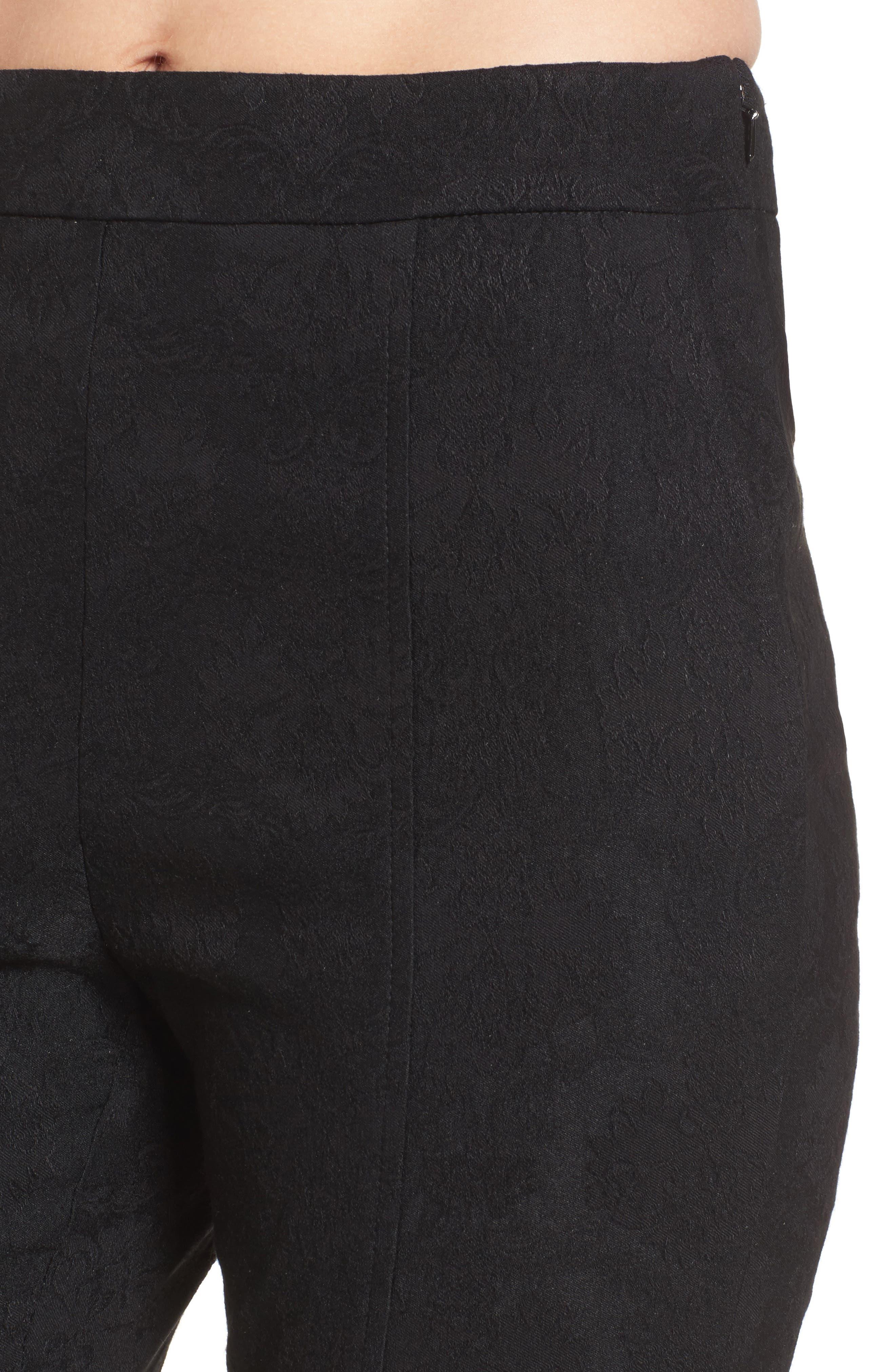 Leigh High Waist Crop Pants,                             Alternate thumbnail 5, color,                             Black