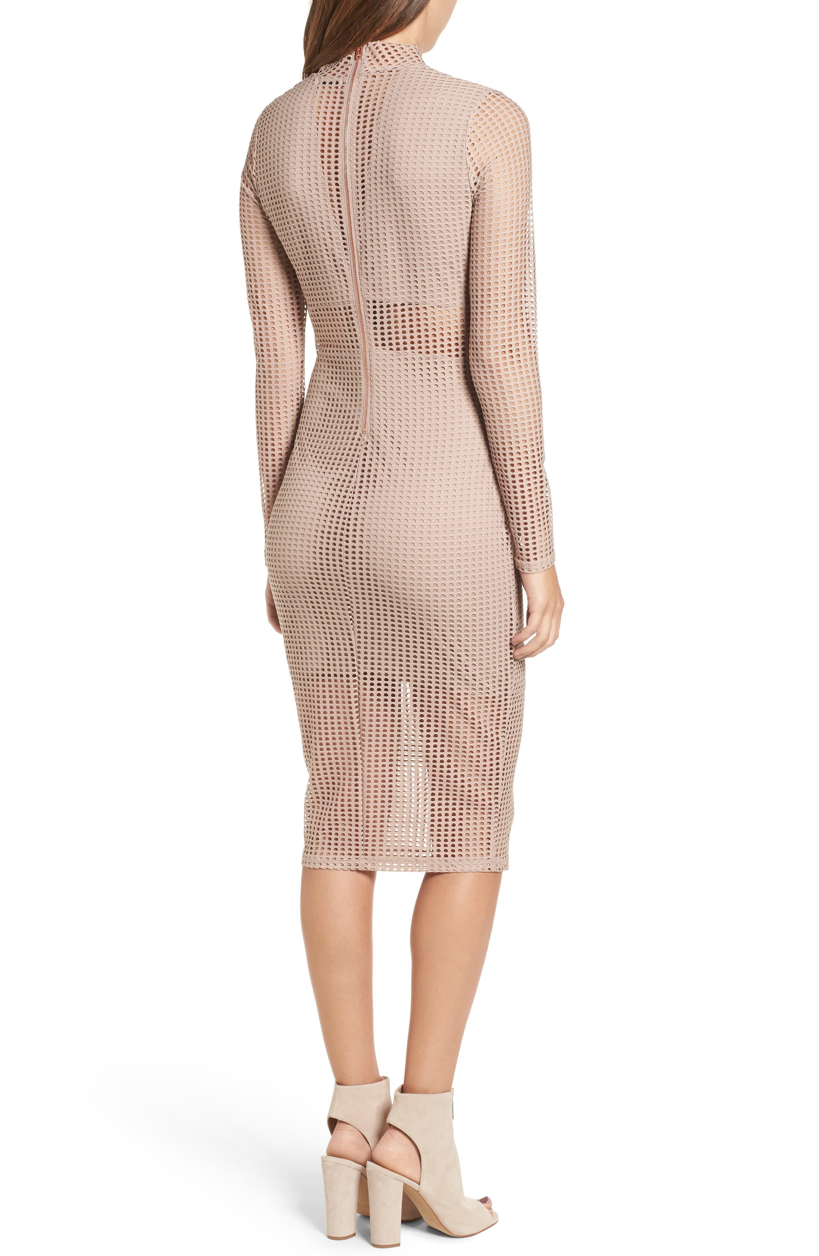 Laser Cut Body-Con Dress,                             Alternate thumbnail 2, color,                             Dusty Pink