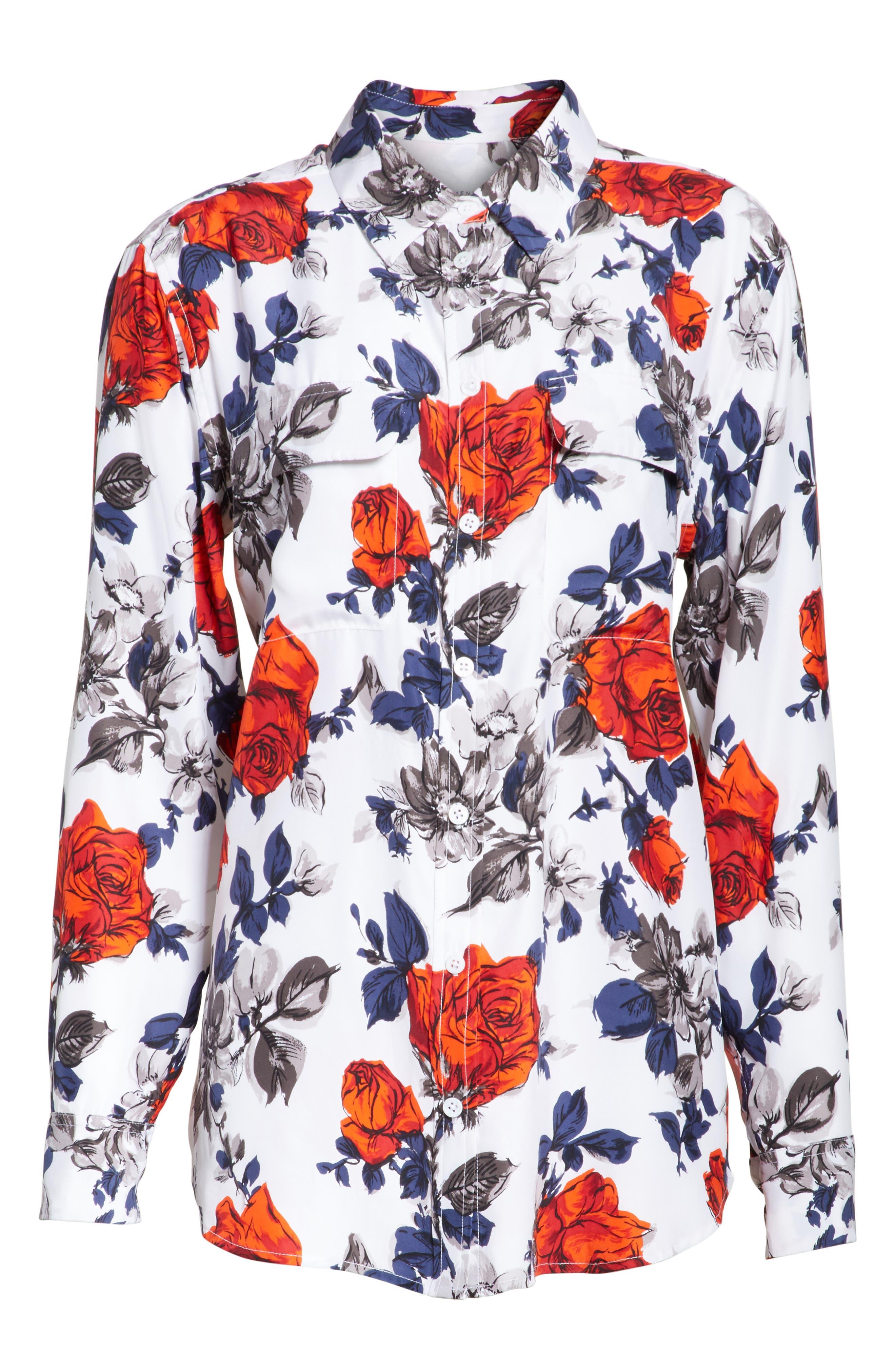 Signature Floral Silk Shirt,                             Alternate thumbnail 6, color,                             Bright White Multi