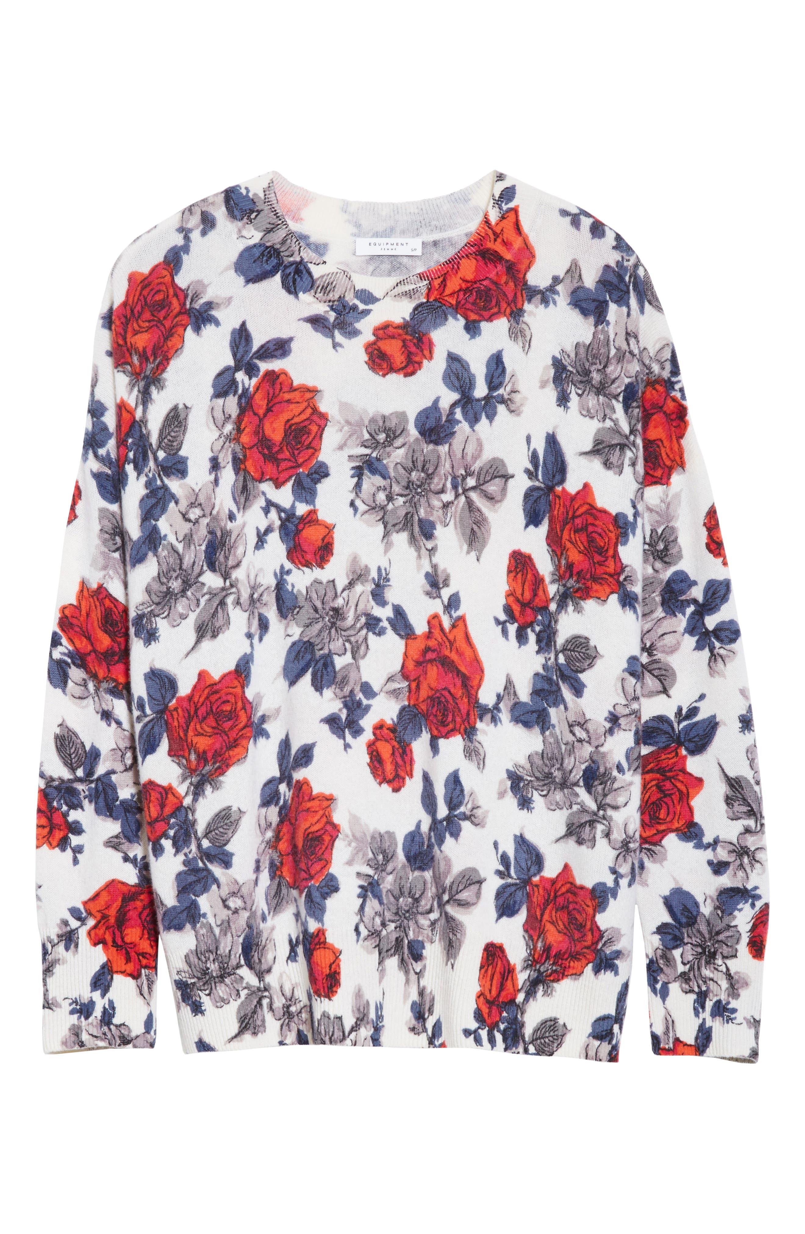 Melanie Flower Print Cashmere Sweater,                             Alternate thumbnail 6, color,                             Ivory Multi