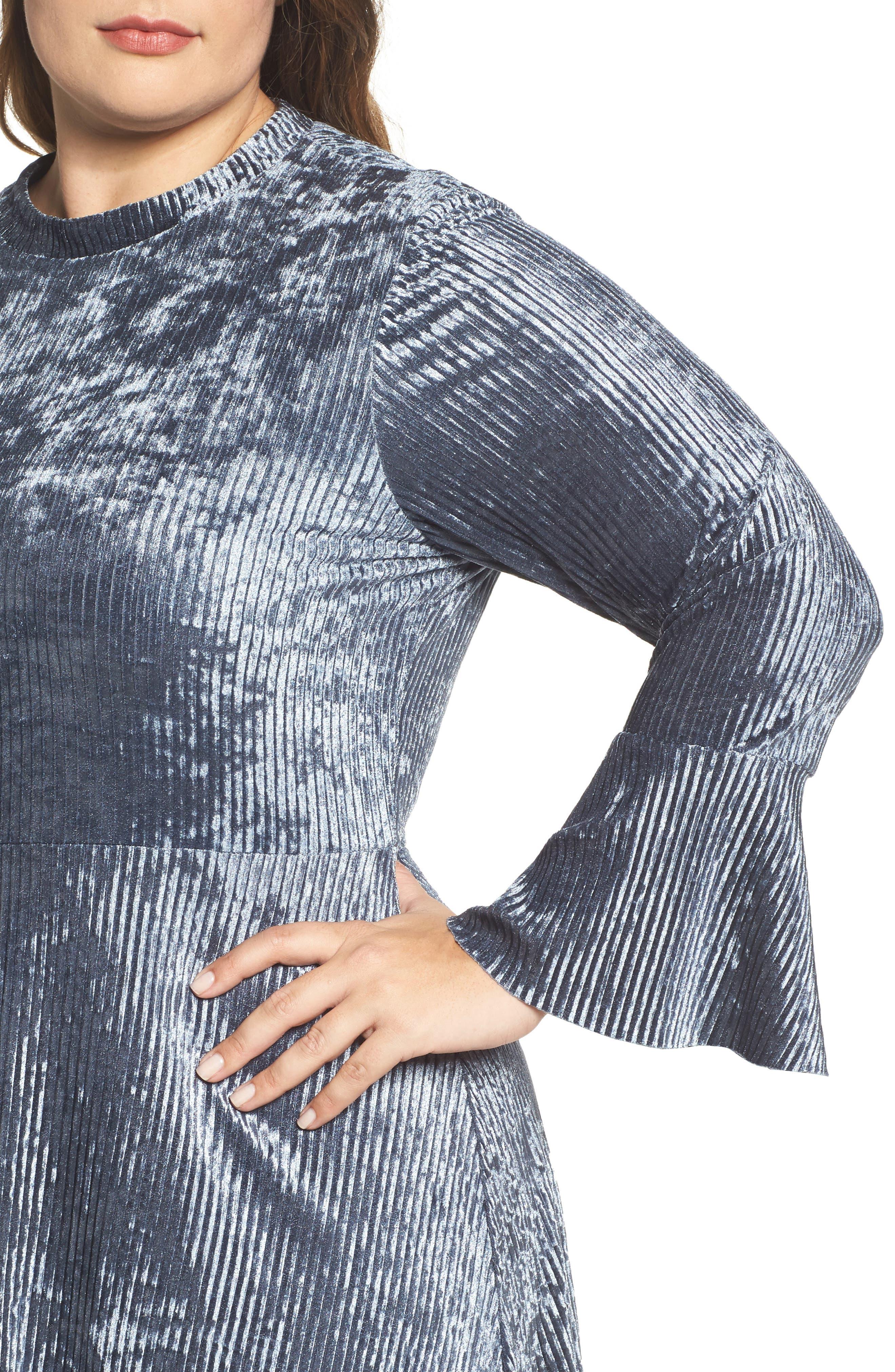 Alternate Image 4  - ELVI Plissé Velvet Bell Sleeve Dress (Plus Size)