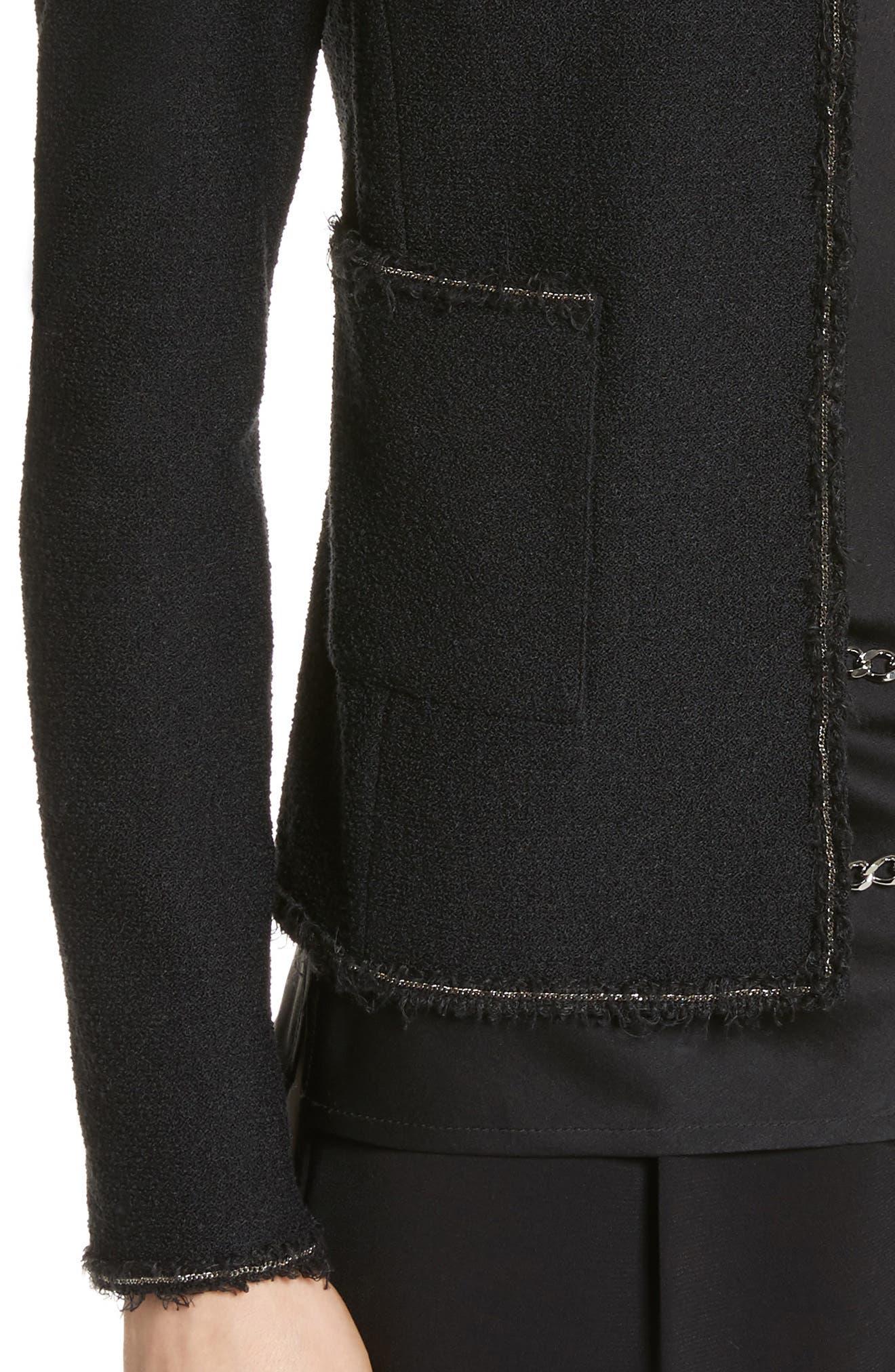 Bouclé Knit Jacket,                             Alternate thumbnail 4, color,                             Caviar
