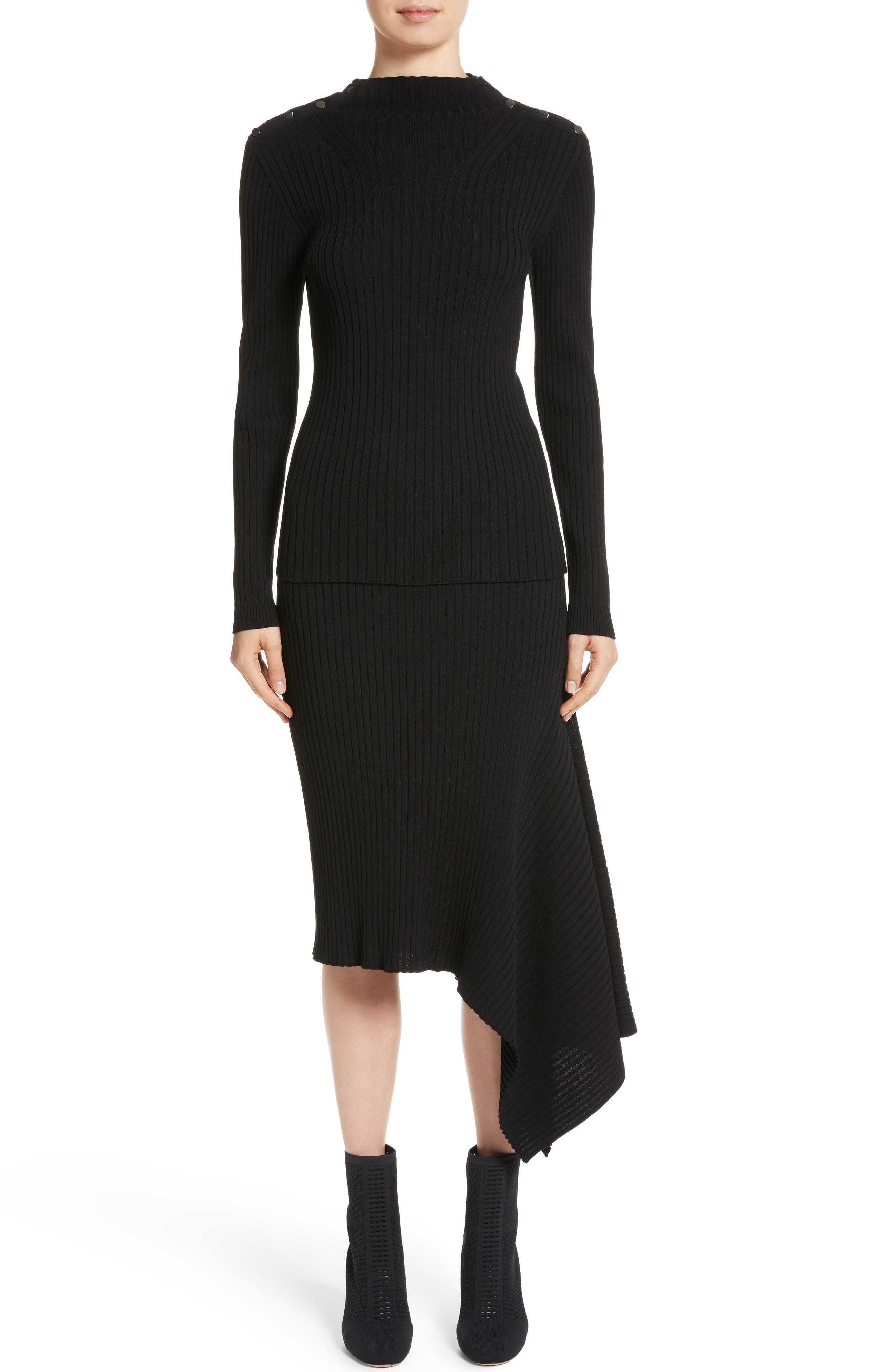Flat Rib Knit Asymmetrical Skirt,                             Alternate thumbnail 8, color,                             Caviar