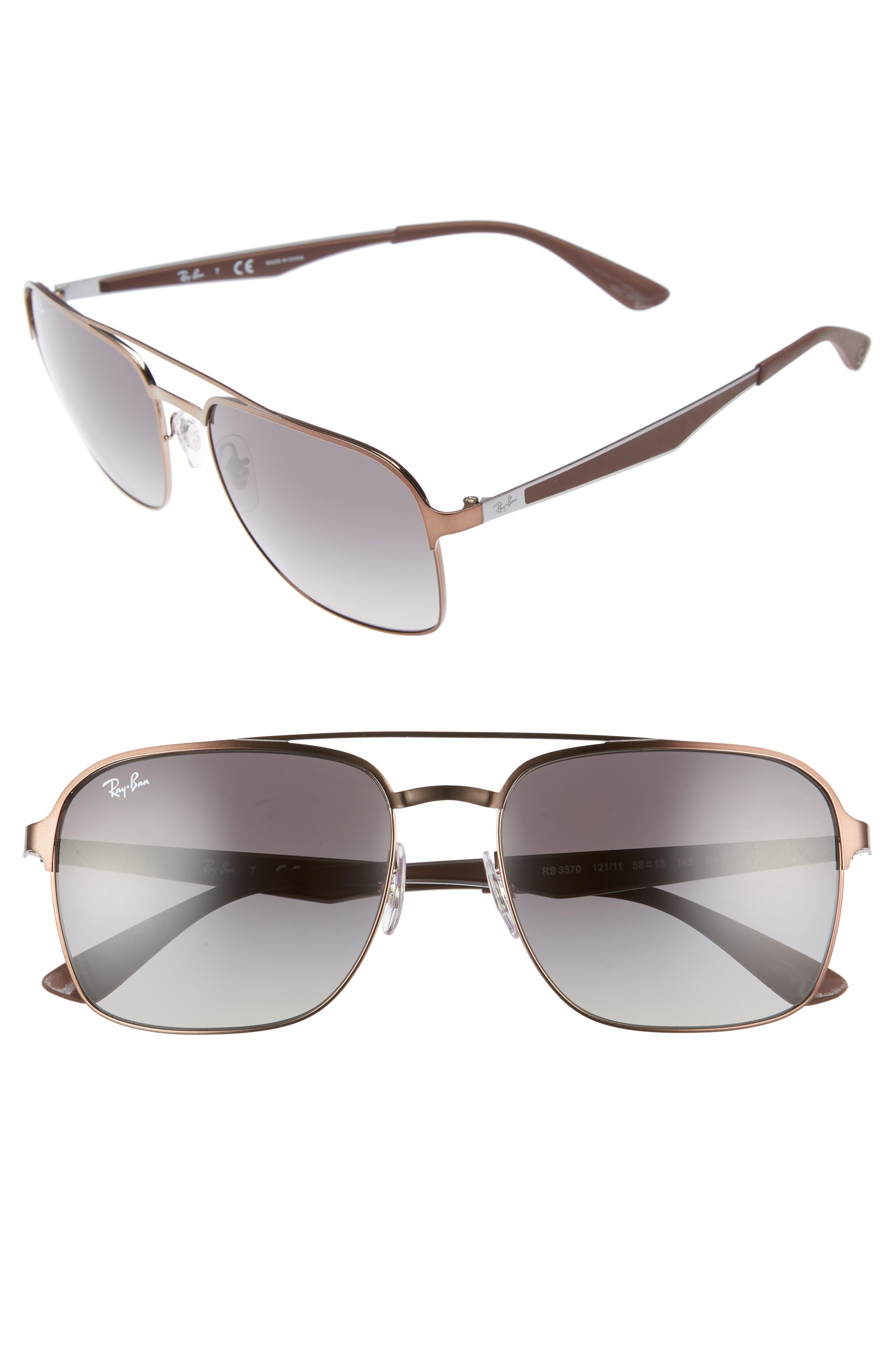 Retro 58mm Sunglasses,                             Main thumbnail 1, color,                             Brown