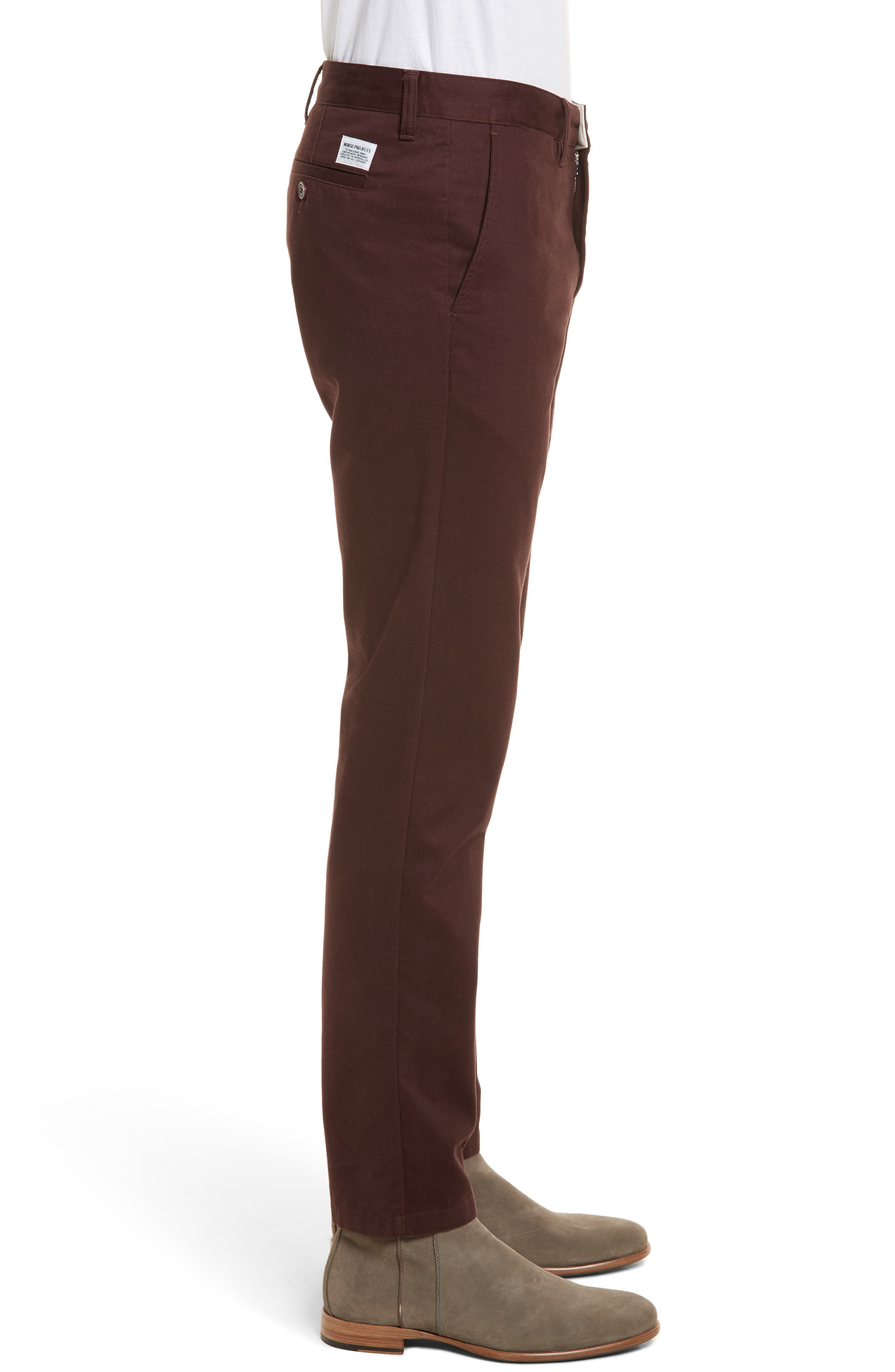 Aros Brushed Twill Chinos,                             Alternate thumbnail 3, color,                             Hematite Red