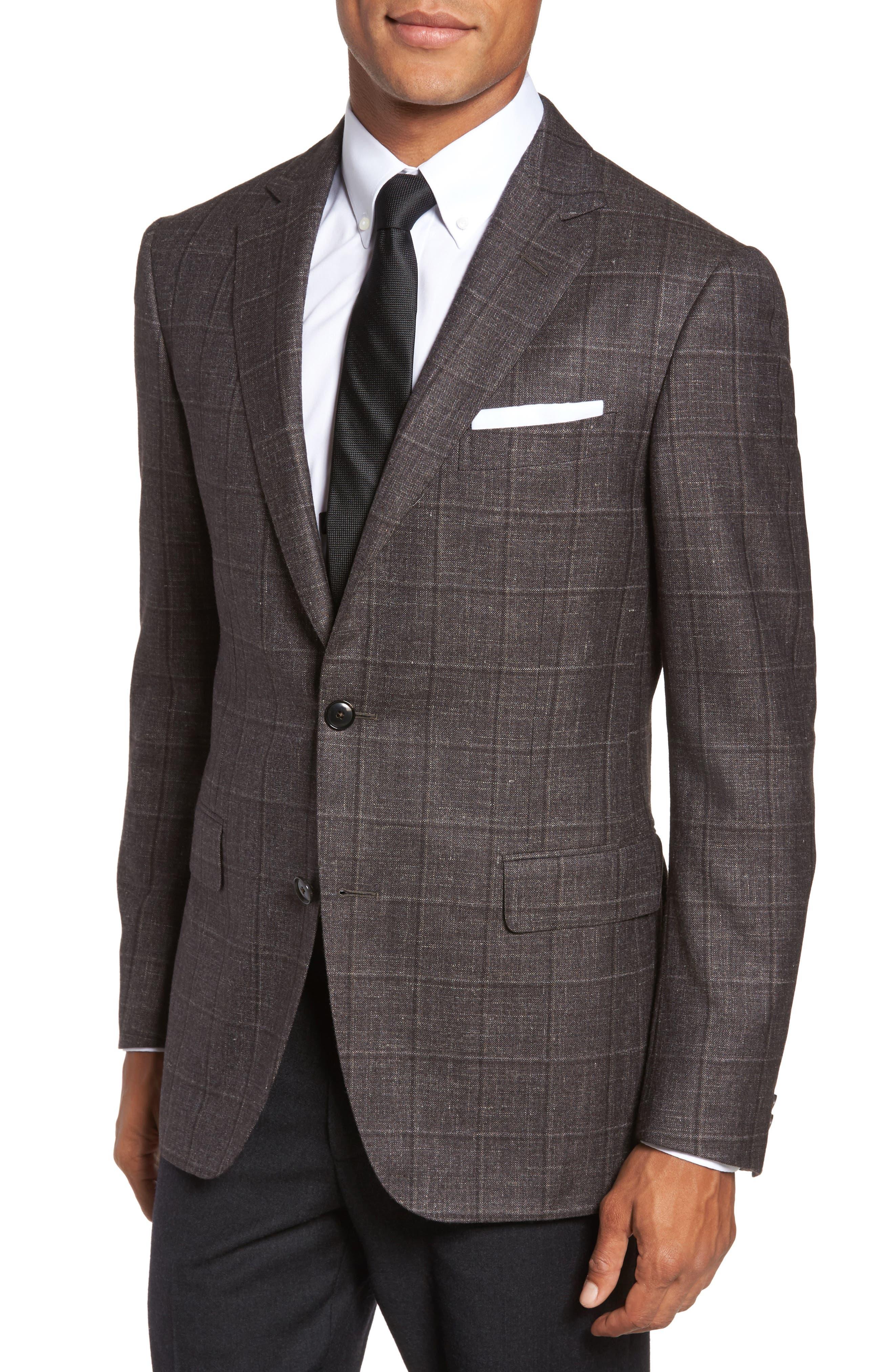 Pal Zileri Classic Fit Plaid Wool Blend Sport Coat