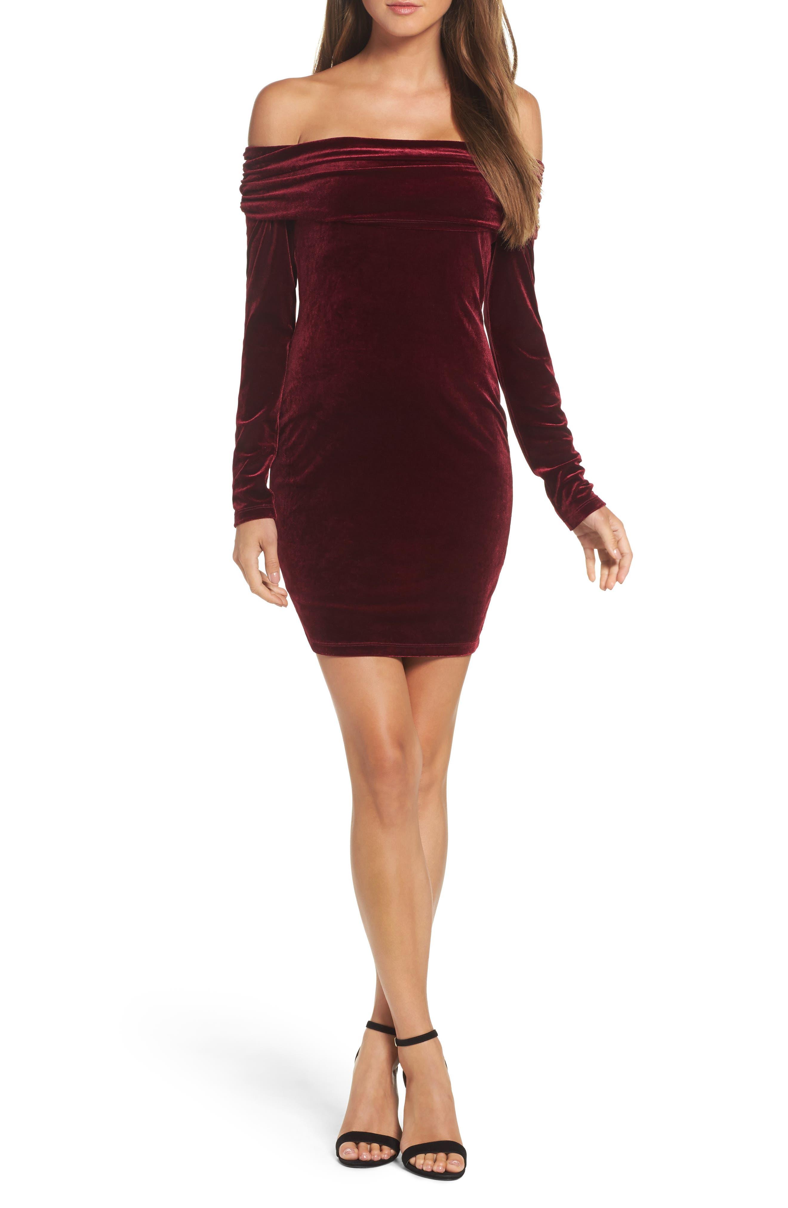 Bardot Velvet Off the Shoulder Sheath Dress