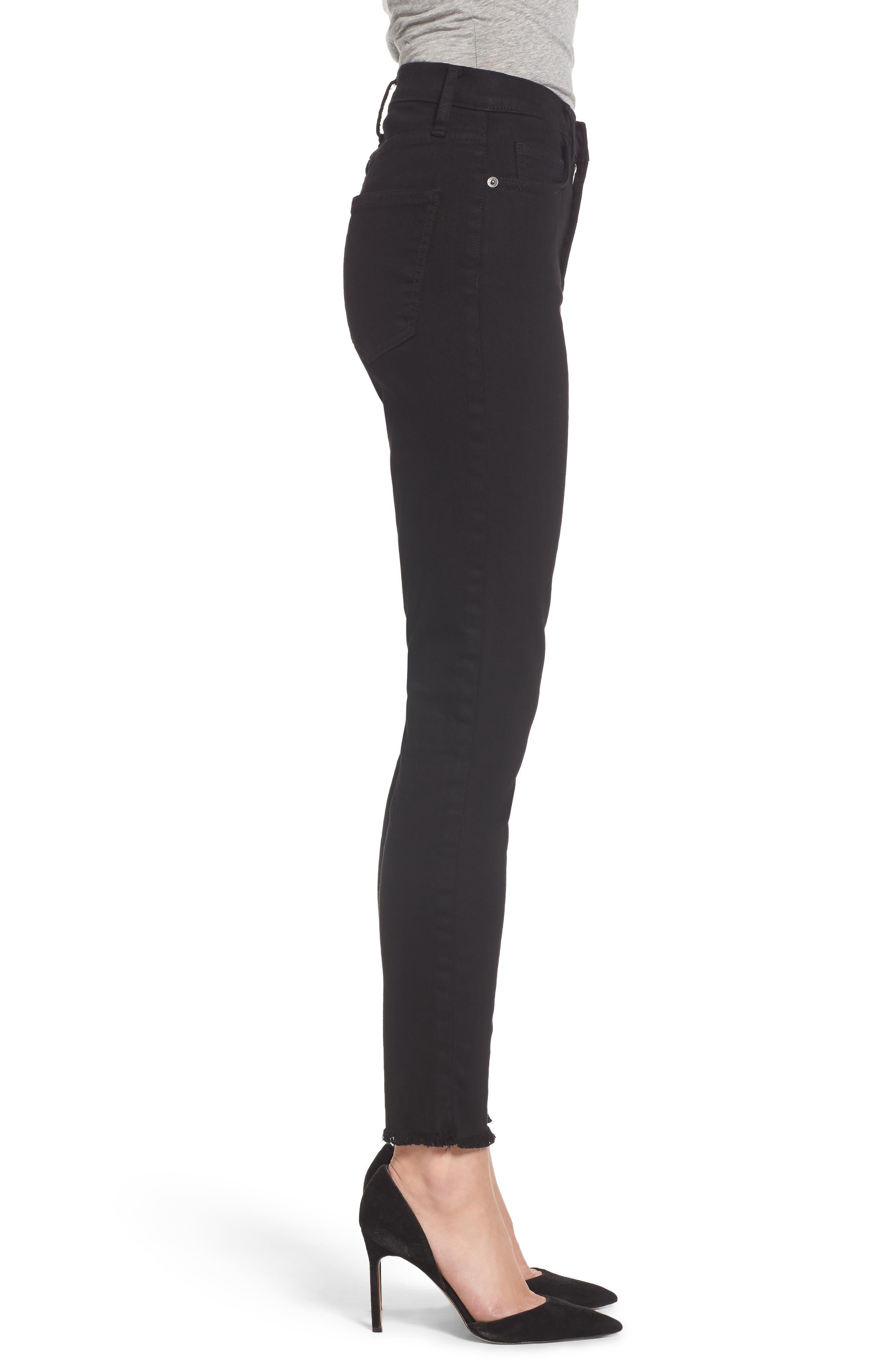 The Super High Waist Stiletto Ankle Skinny Jeans,                             Alternate thumbnail 3, color,                             Jet Black
