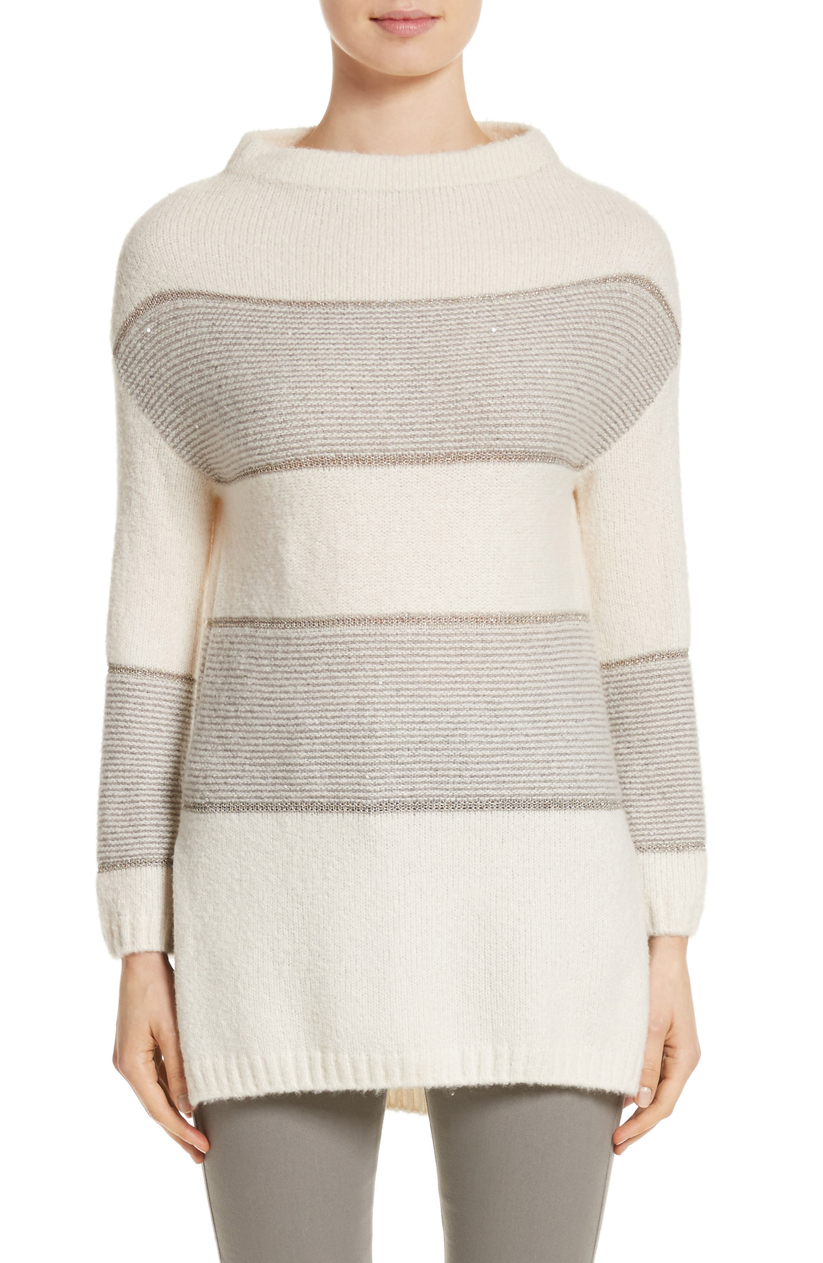 Links Knit Funnel Neck Sweater,                         Main,                         color, Stone/Travertine