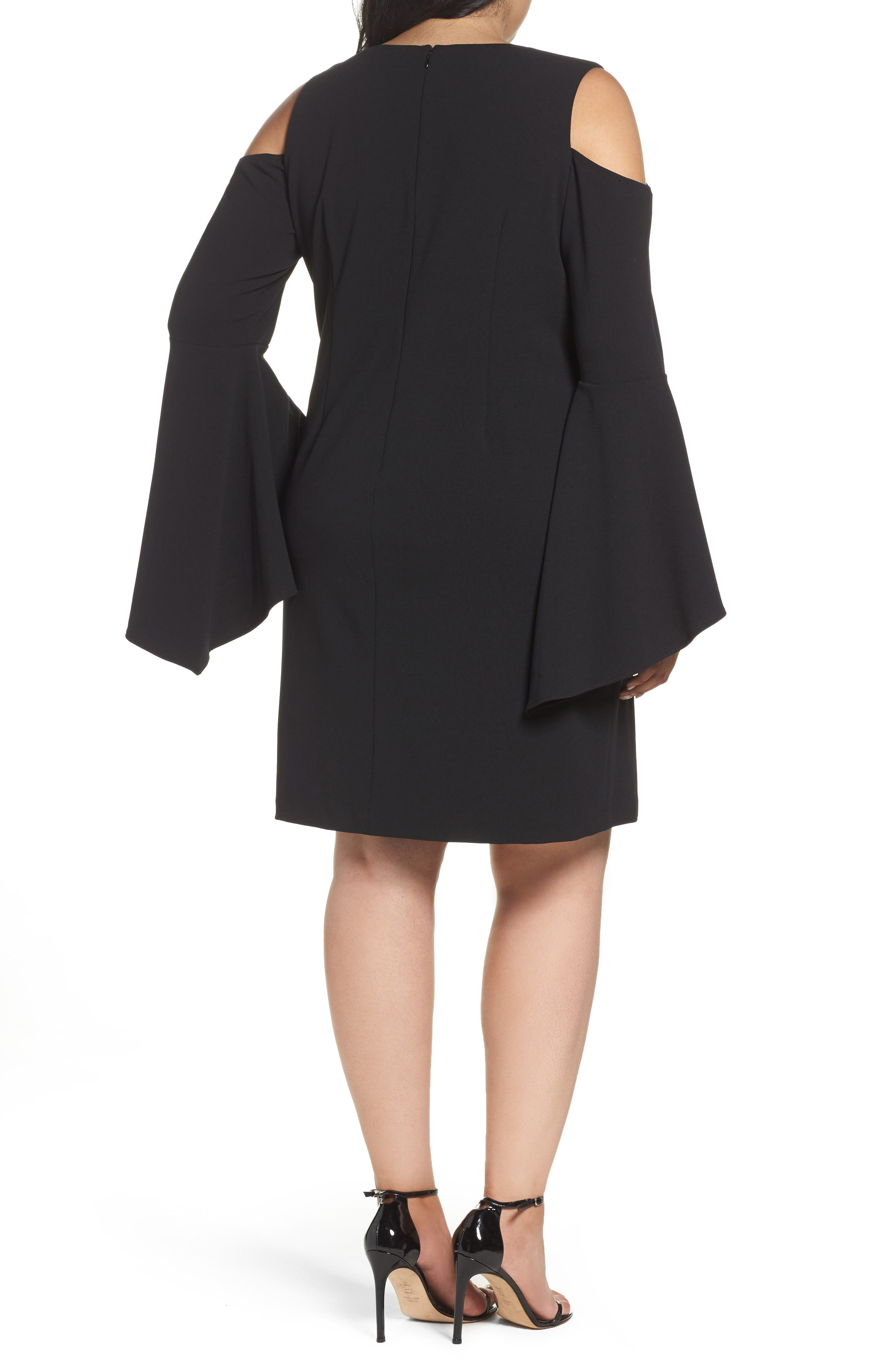 Alternate Image 2  - Vince Camuto Flounce Cuff Cold Shoulder Dress (Plus Size)