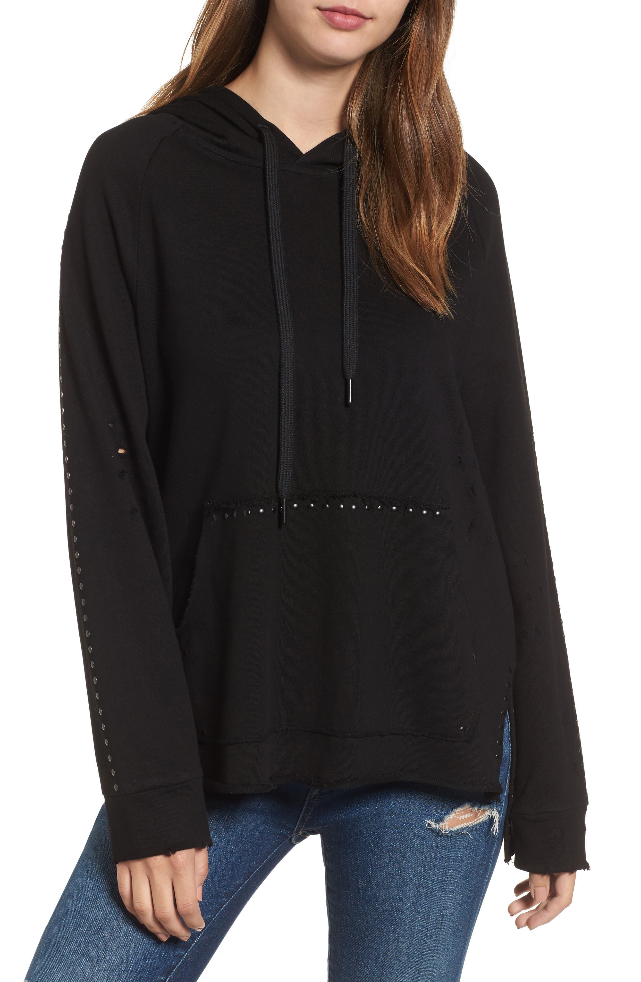 Dark & Stormy Studded Hoodie,                         Main,                         color, Black