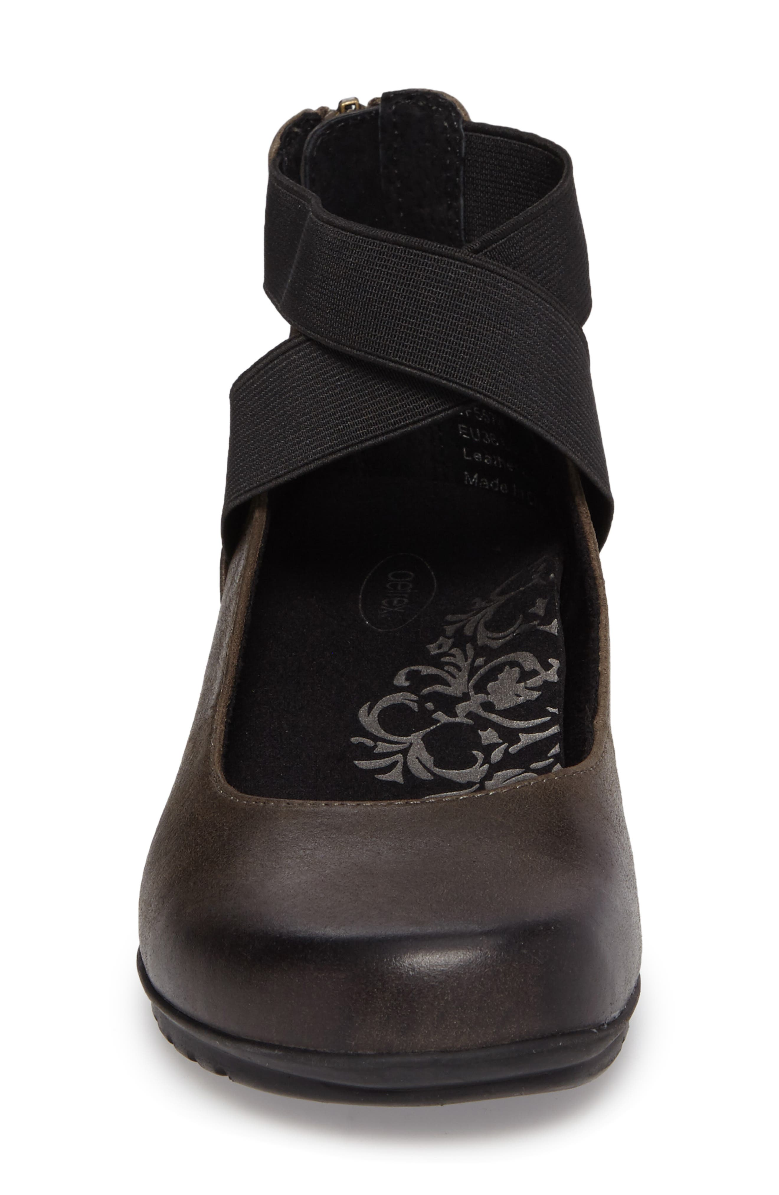 'Dakota' Ankle Strap Ballet Flat,                             Alternate thumbnail 4, color,                             Iron Leather