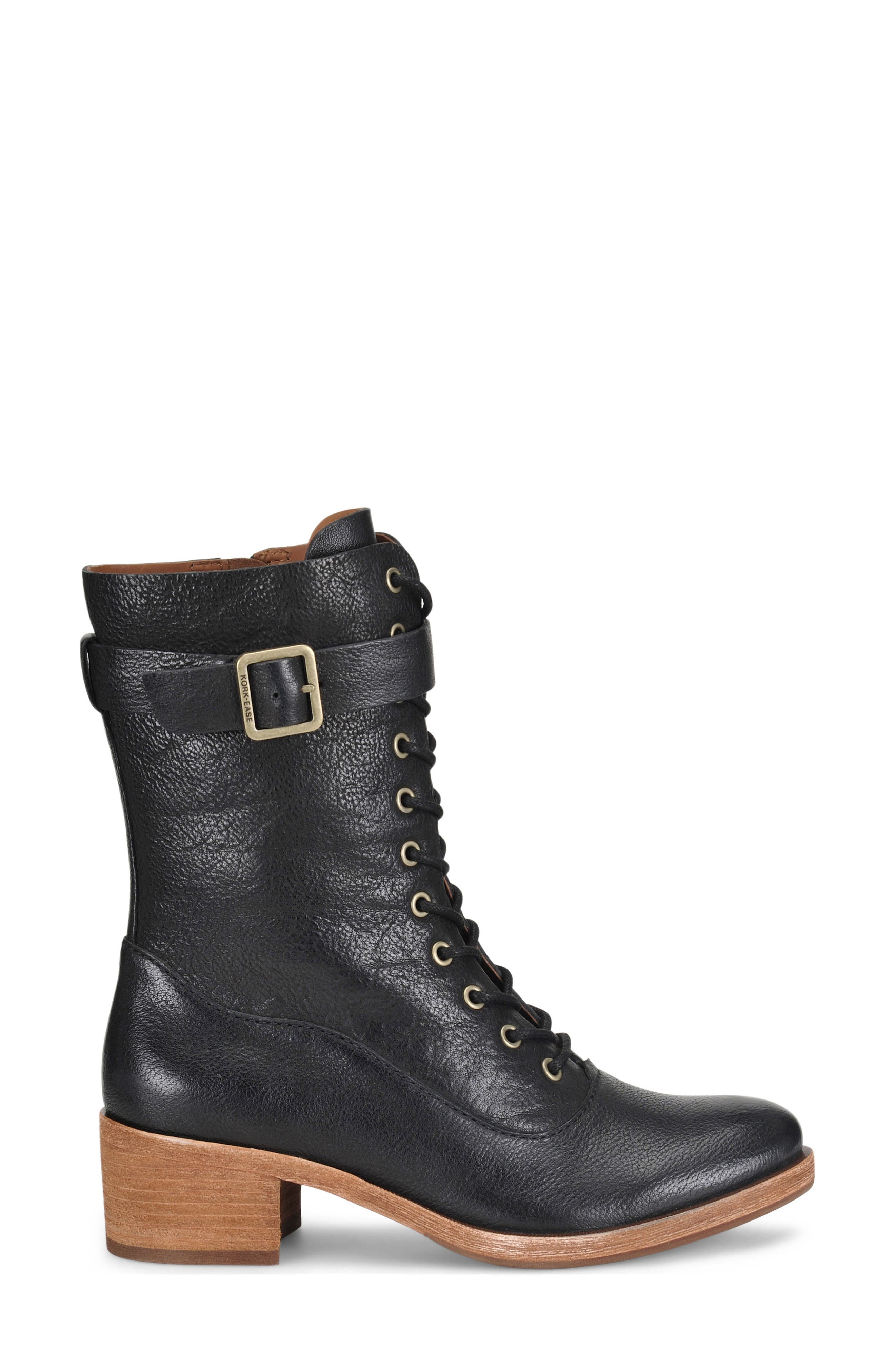 Mona Lace-Up Boot,                             Alternate thumbnail 3, color,                             Black Leather