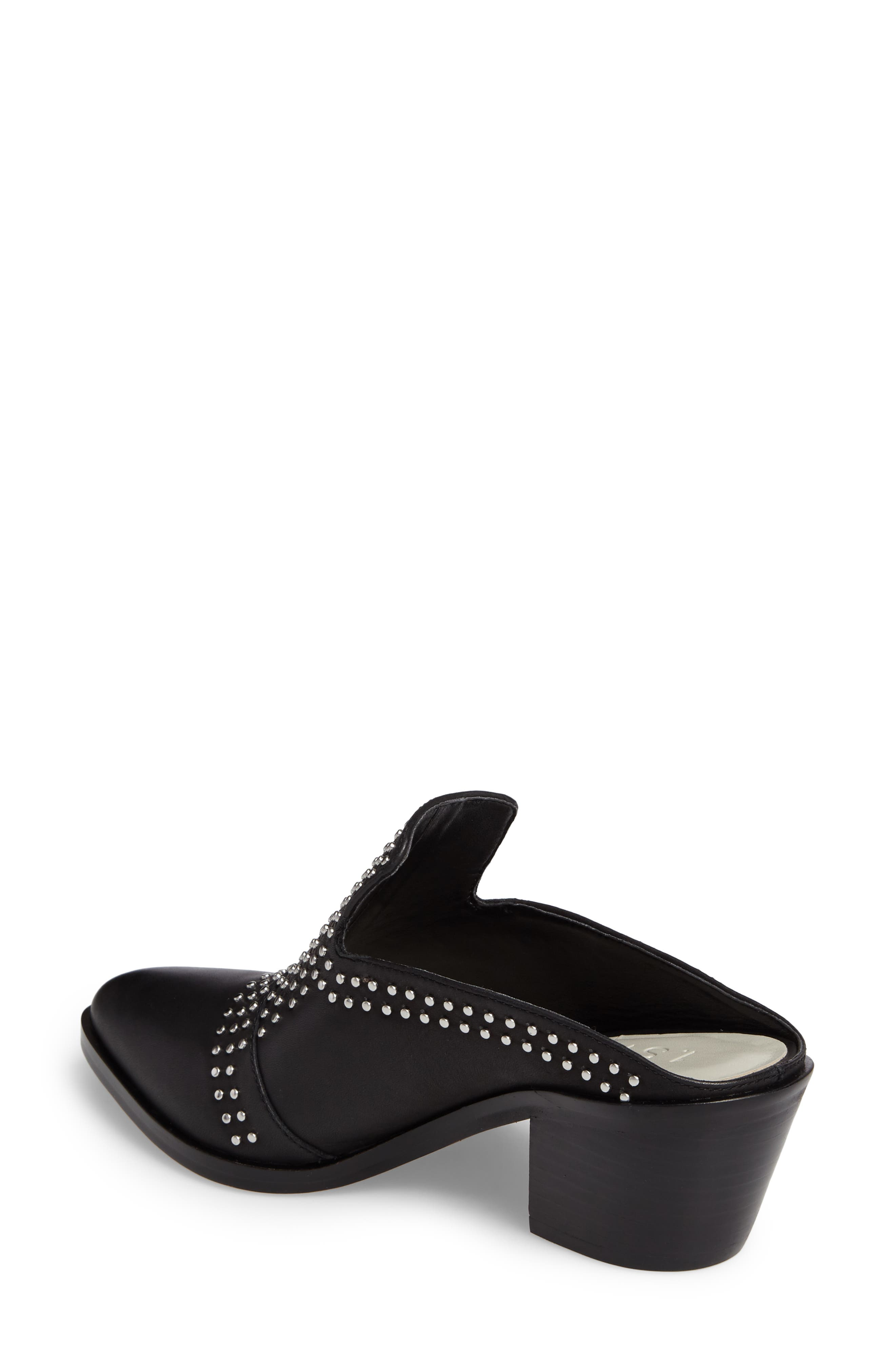 Lon Studded Loafer Mule,                             Alternate thumbnail 2, color,                             Black Leather
