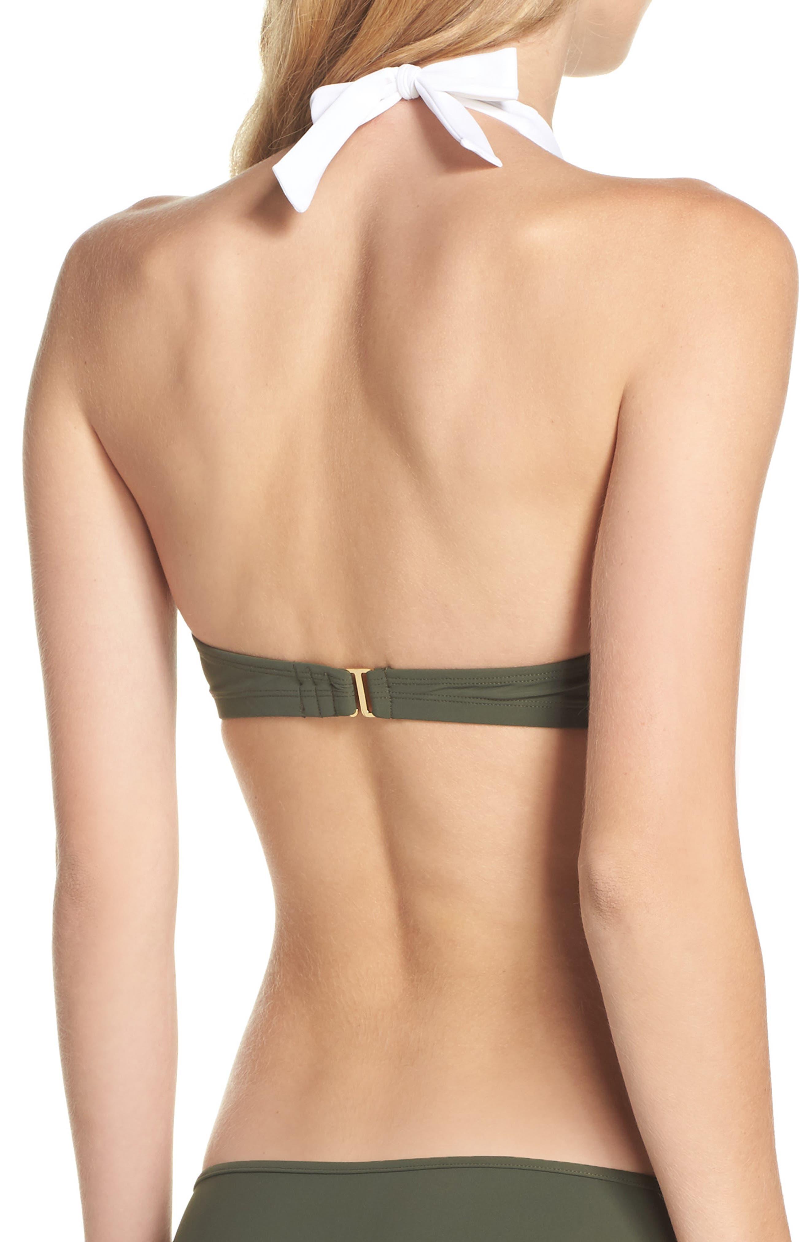 Banded Halter Bikini Top,                             Alternate thumbnail 2, color,                             Camo/ White