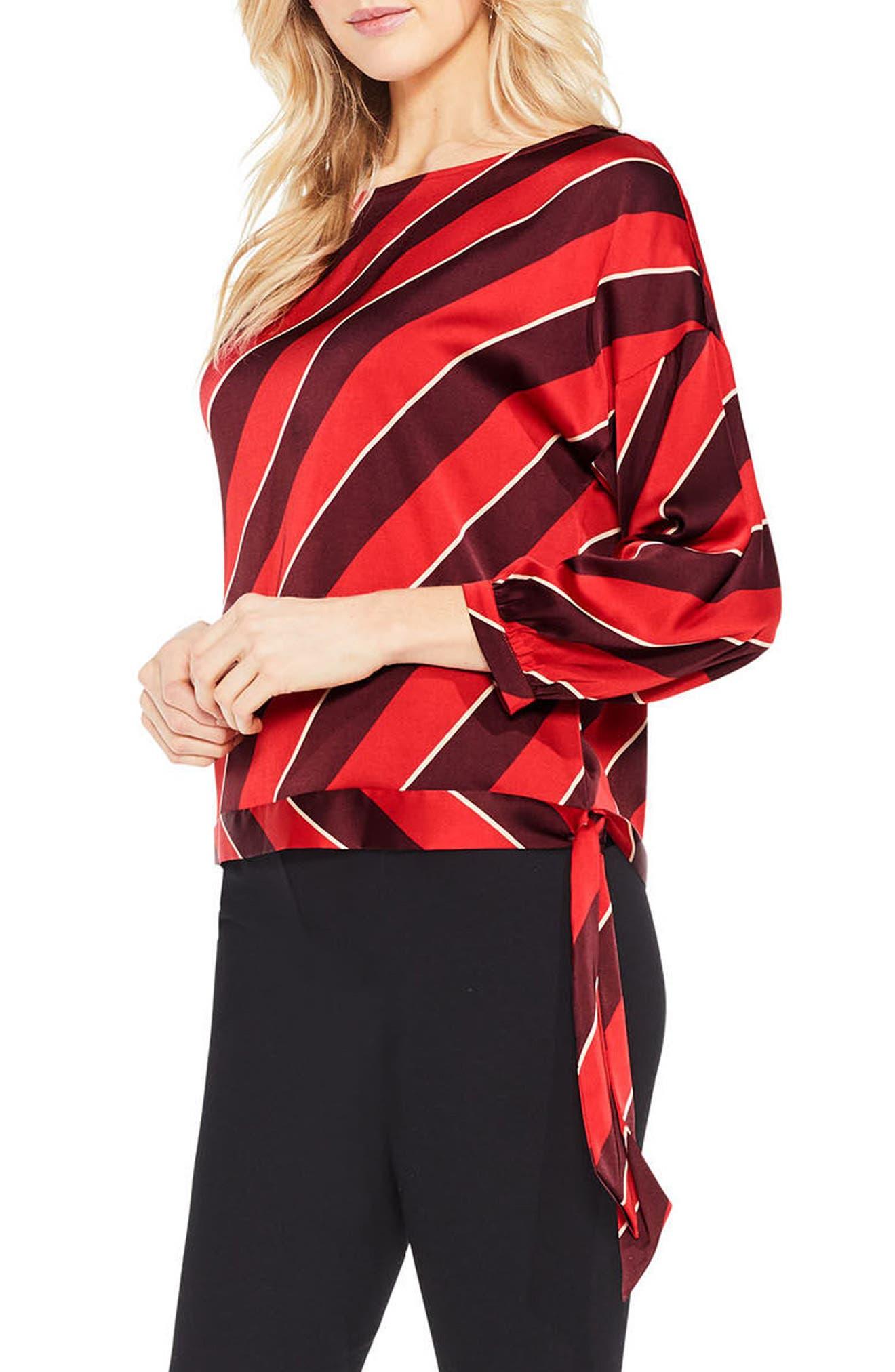 Tie Hem Diagonal Stripe Blouse,                         Main,                         color, True Crimson