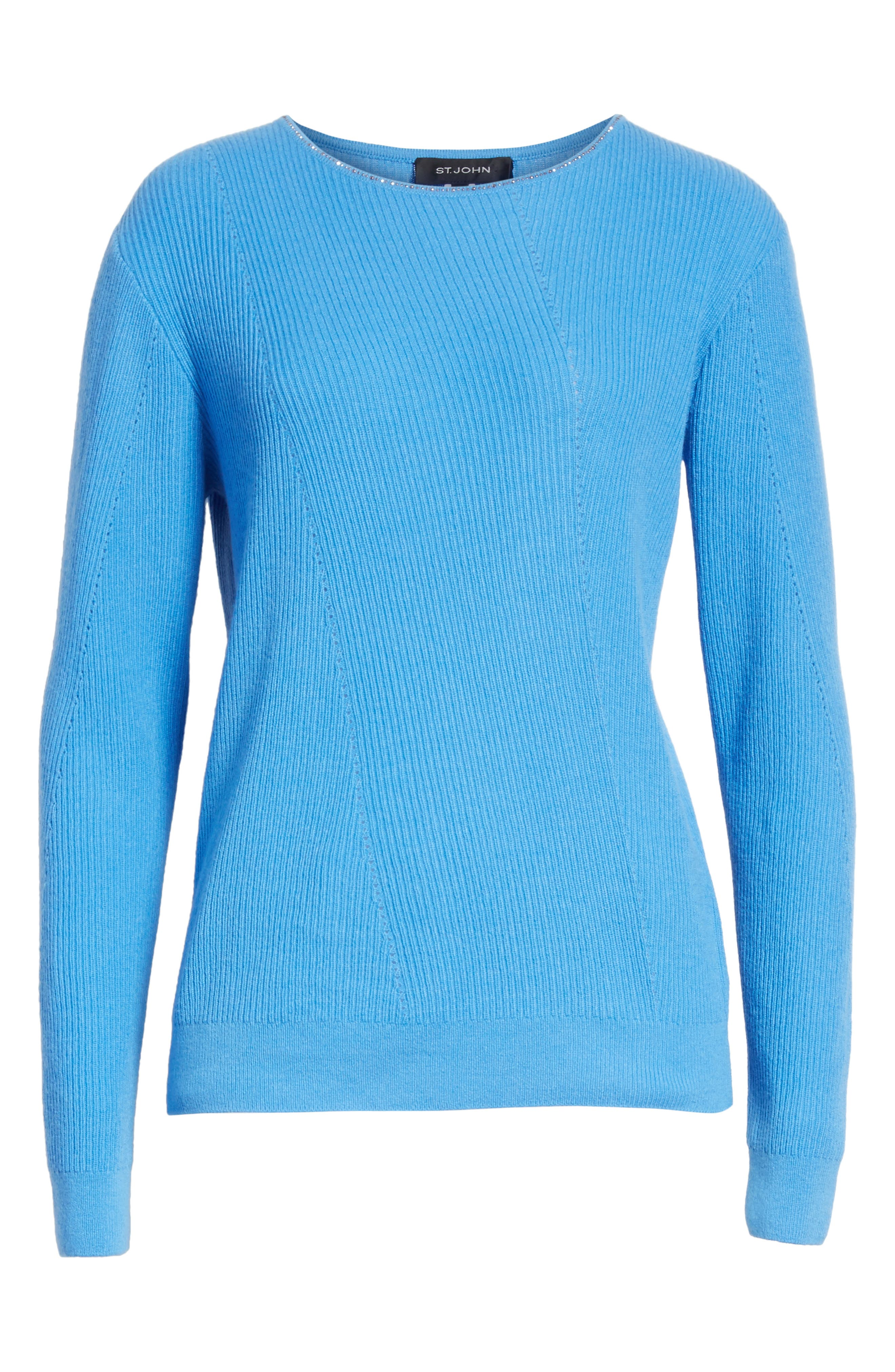 Cashmere Sweater,                             Alternate thumbnail 10, color,                             Bright Niagara