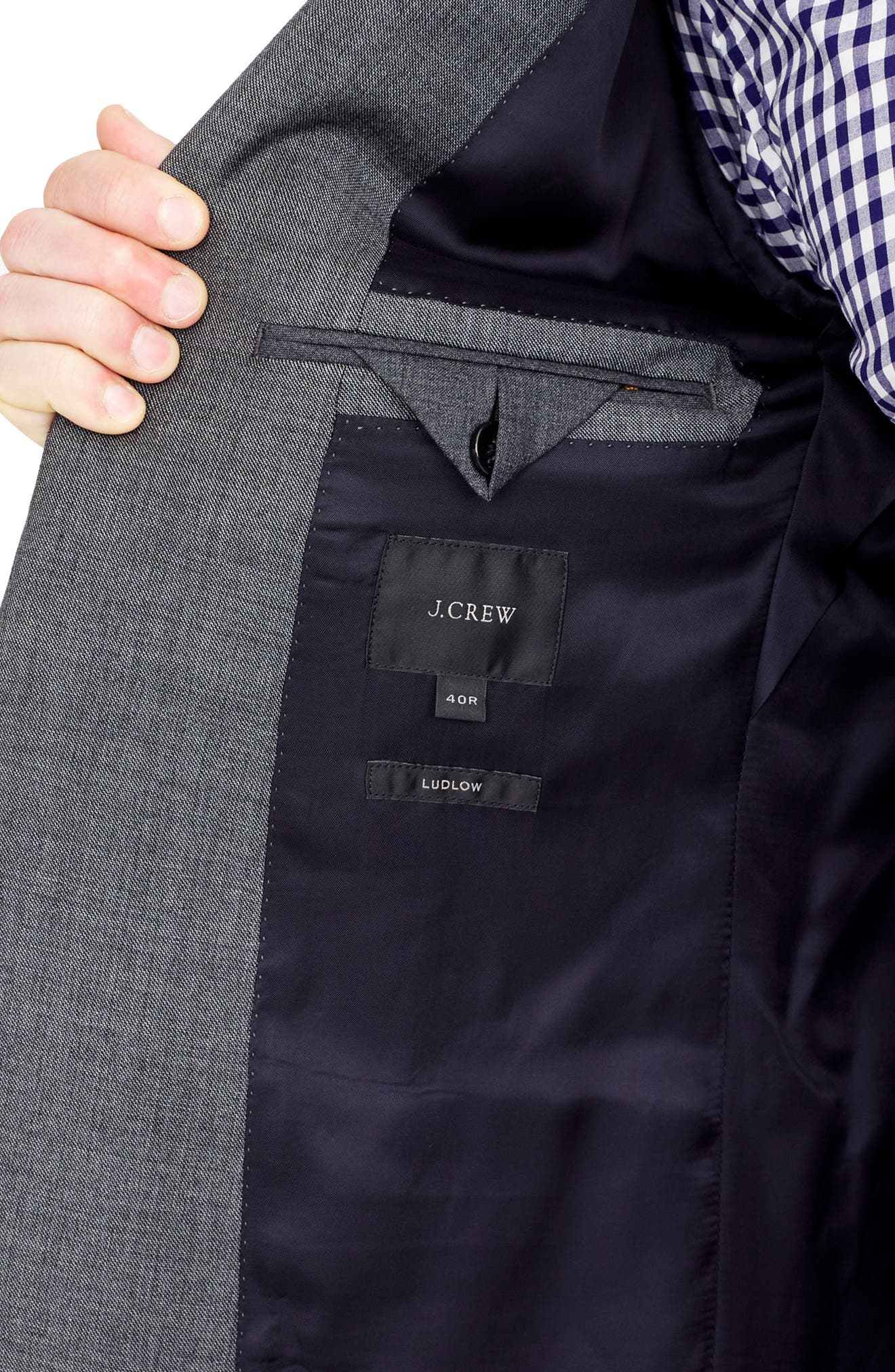 J.Crew Ludlow Trim Fit Solid Wool Sport Coat,                             Alternate thumbnail 5, color,                             Charcoal