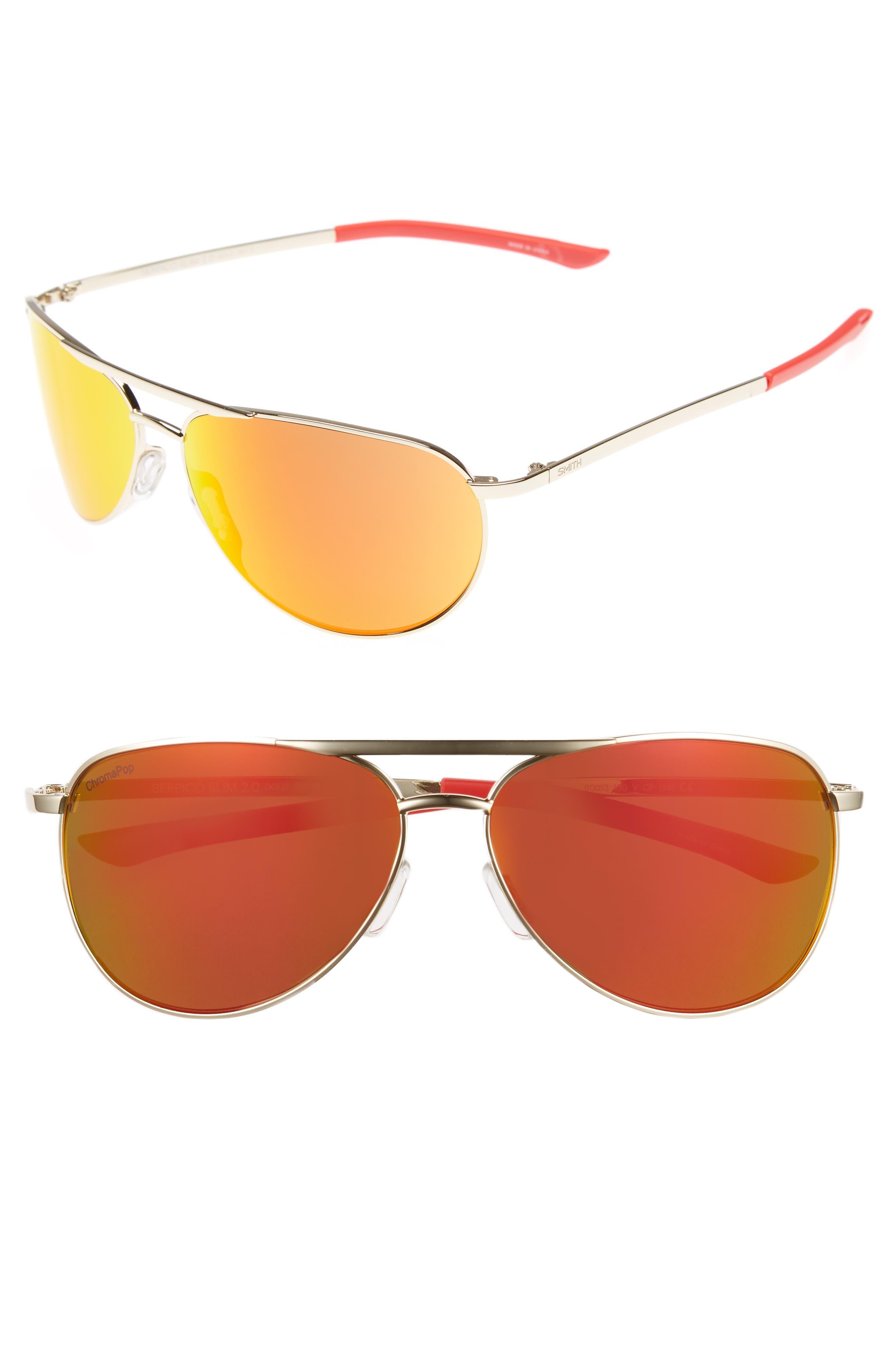 Main Image - Smith Serpico Slim 2.0 60mm ChromaPop Polarized Aviator Sunglasses