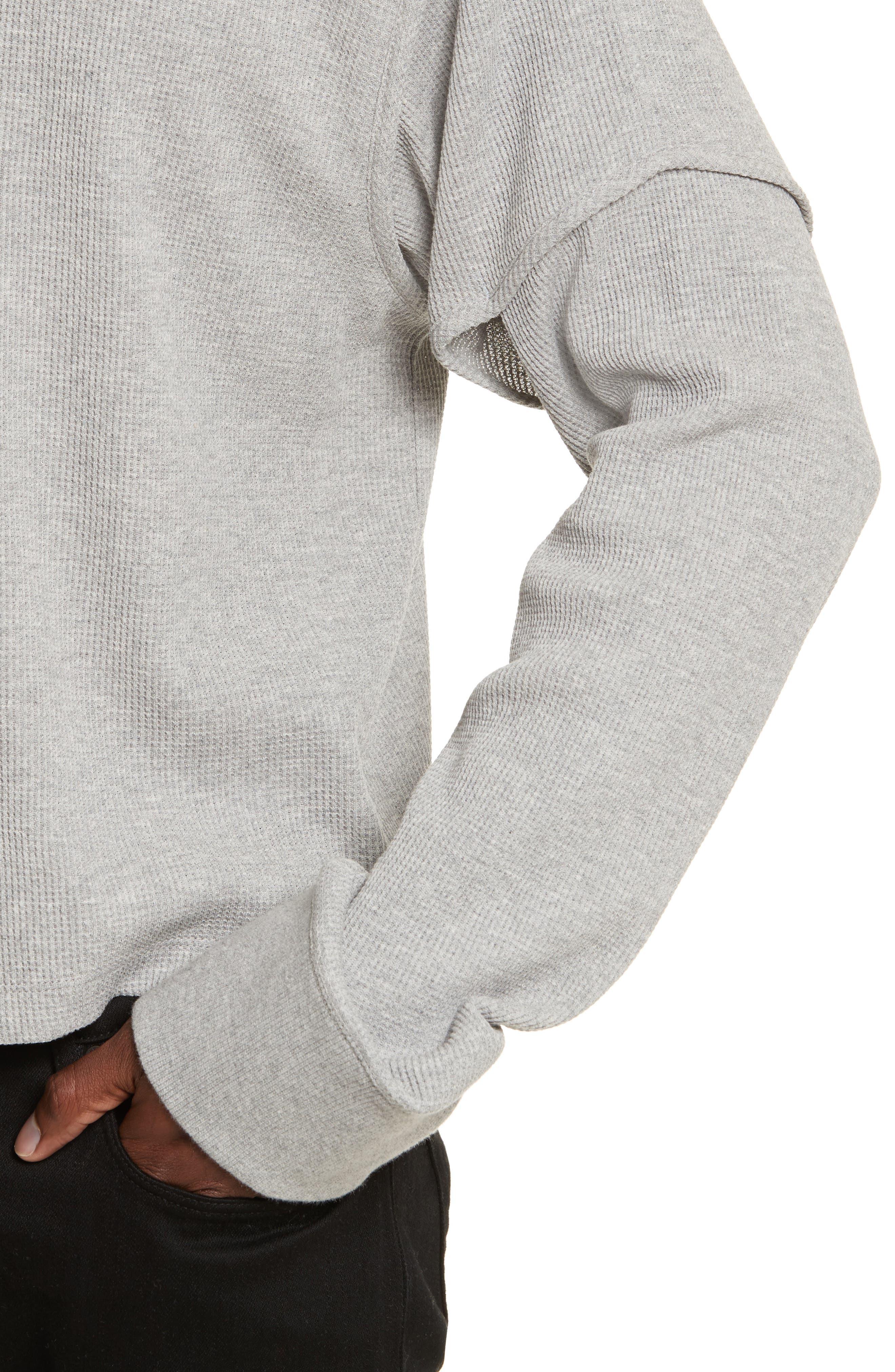 Military Panel Sleeve Thermal Shirt,                             Alternate thumbnail 4, color,                             Grey Melange