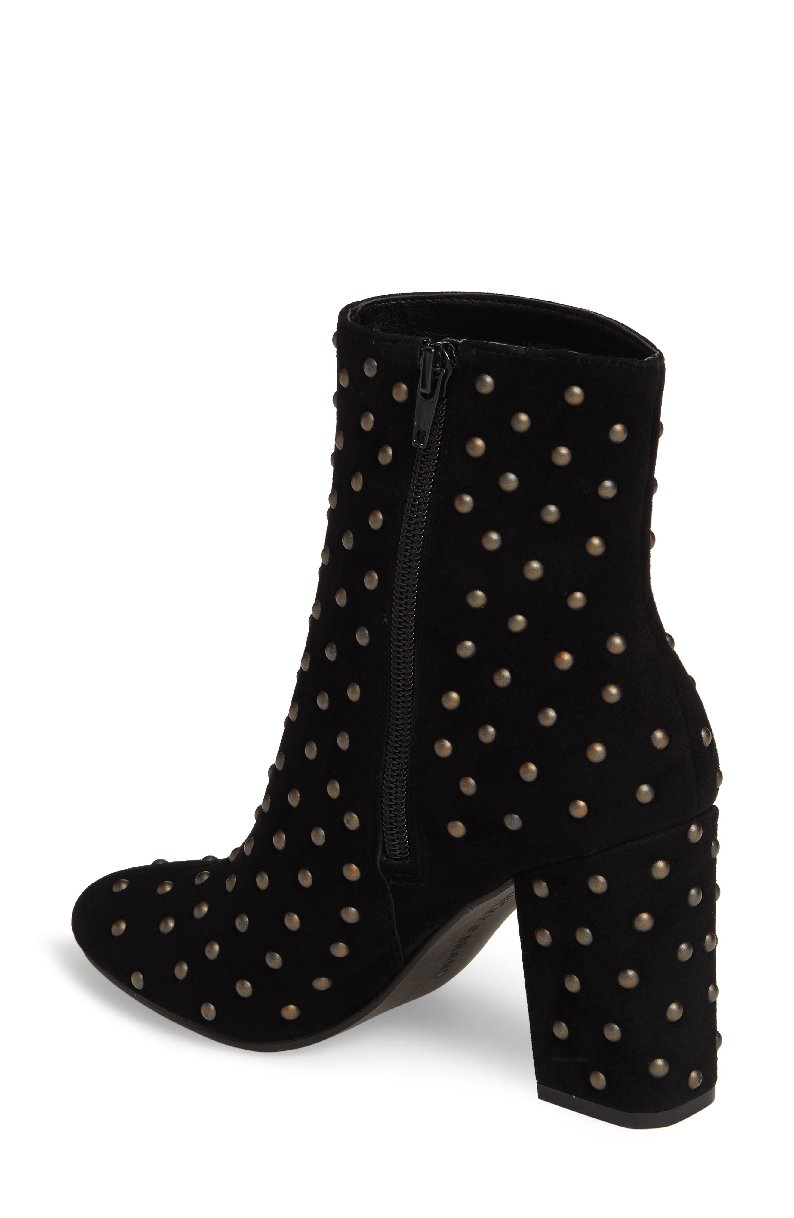 Wesson II Studded Bootie,                             Alternate thumbnail 2, color,                             Black Suede