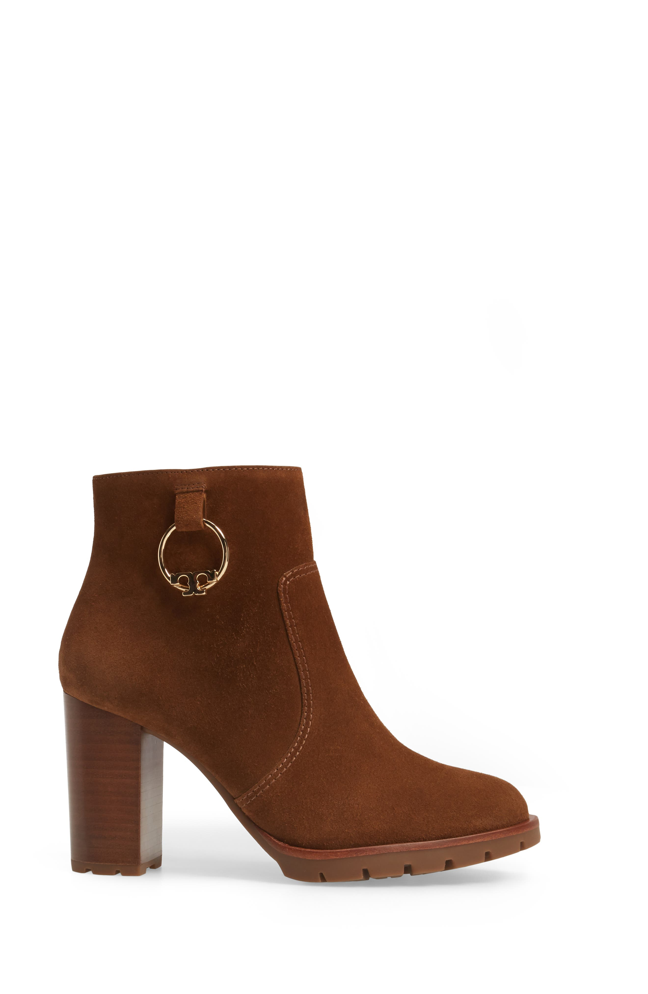 Sofia Lugged Logo Charm Bootie,                             Alternate thumbnail 4, color,                             Festival Brown