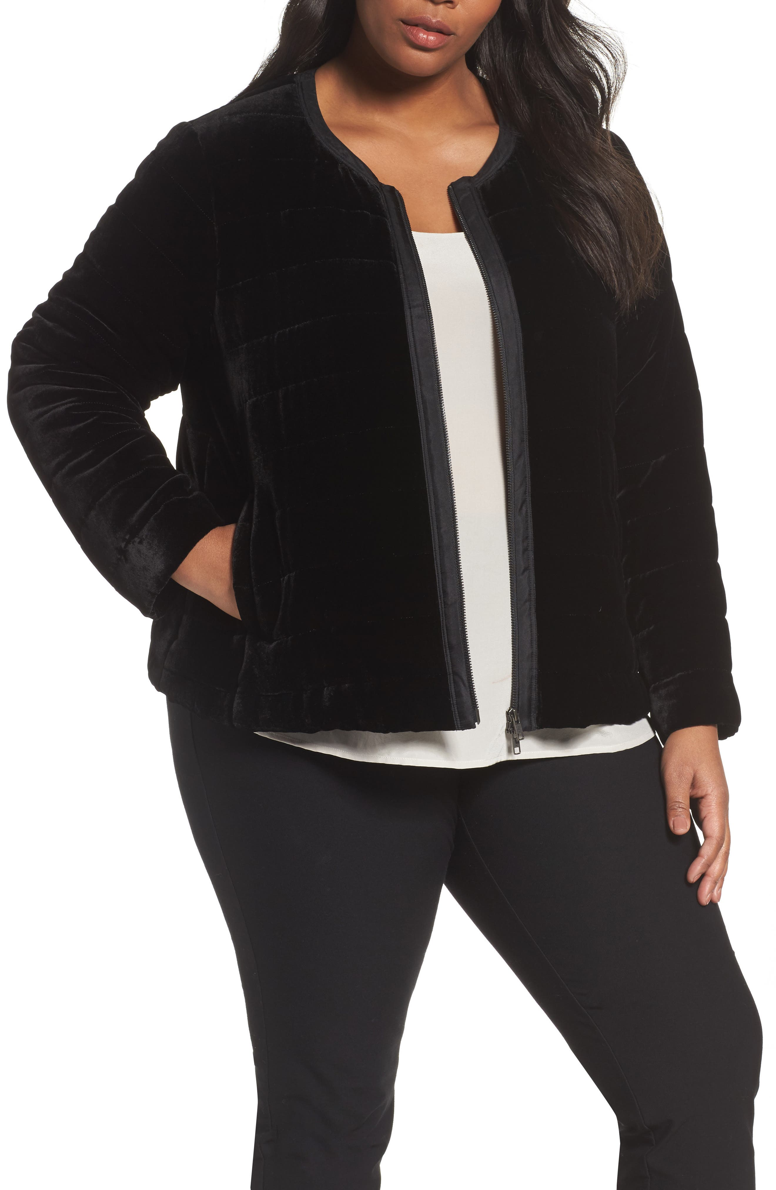 Main Image - Eileen Fisher Quilted Velvet Jacket (Plus Size)
