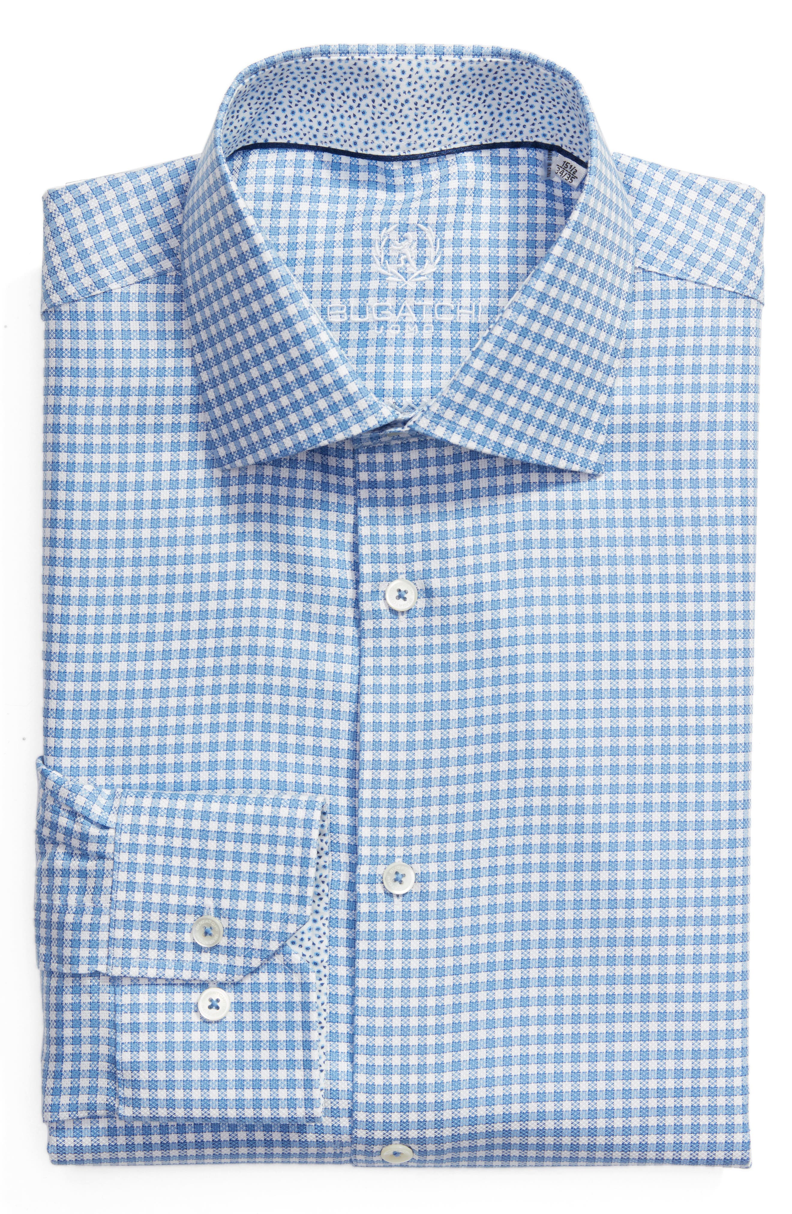 Trim Fit Check Dress Shirt,                         Main,                         color, Sky