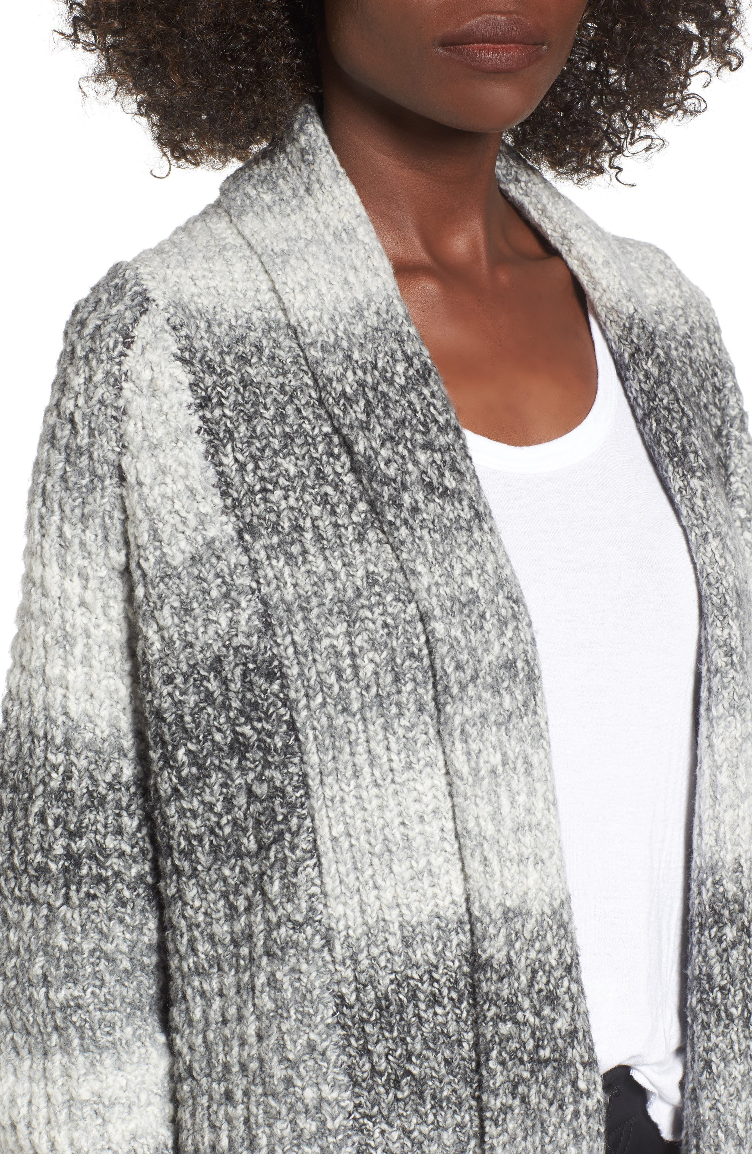 Ombré Cardigan,                             Alternate thumbnail 4, color,                             Grey Cloudy Ombre
